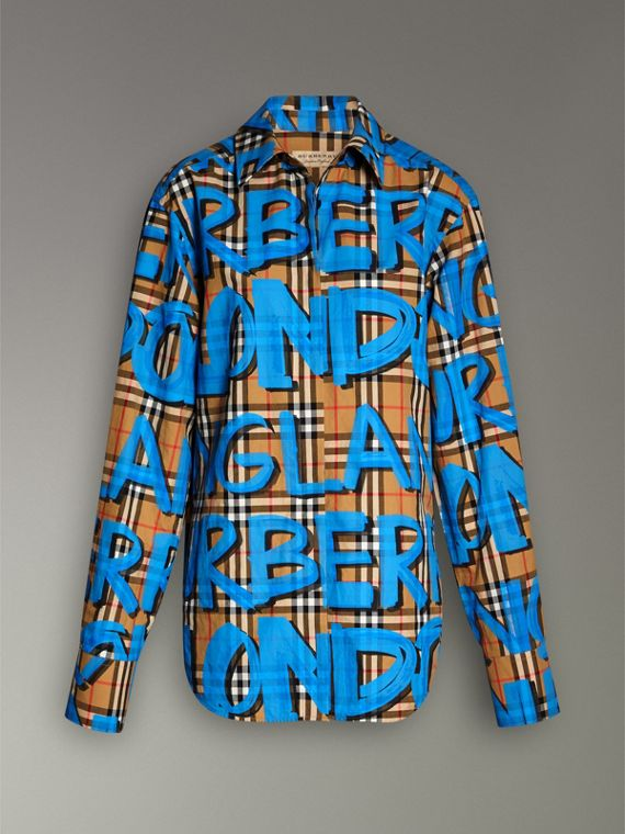 Graffiti Print Vintage Check Cotton Shirt in Bright Blue - Women | Burberry United Kingdom - cell image 3