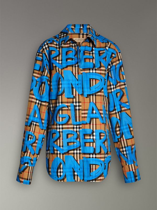 Graffiti Print Vintage Check Cotton Shirt in Bright Blue | Burberry - cell image 3