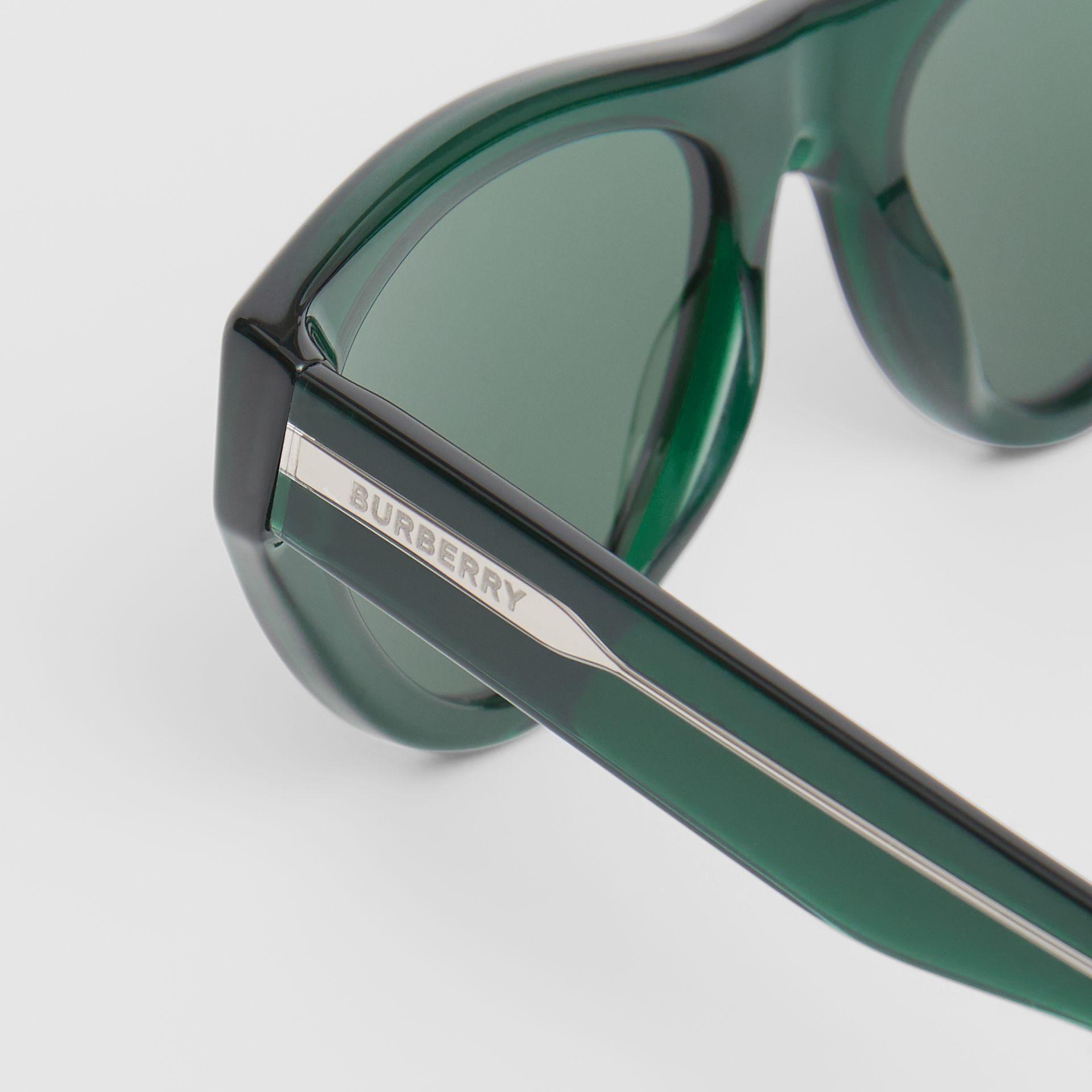 Triangular Frame Sunglasses in Green - Women | Burberry United Kingdom - gallery image 1