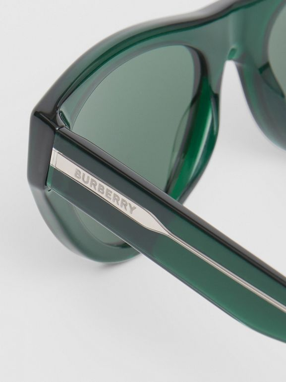 Triangular Frame Sunglasses in Green - Women | Burberry - cell image 1