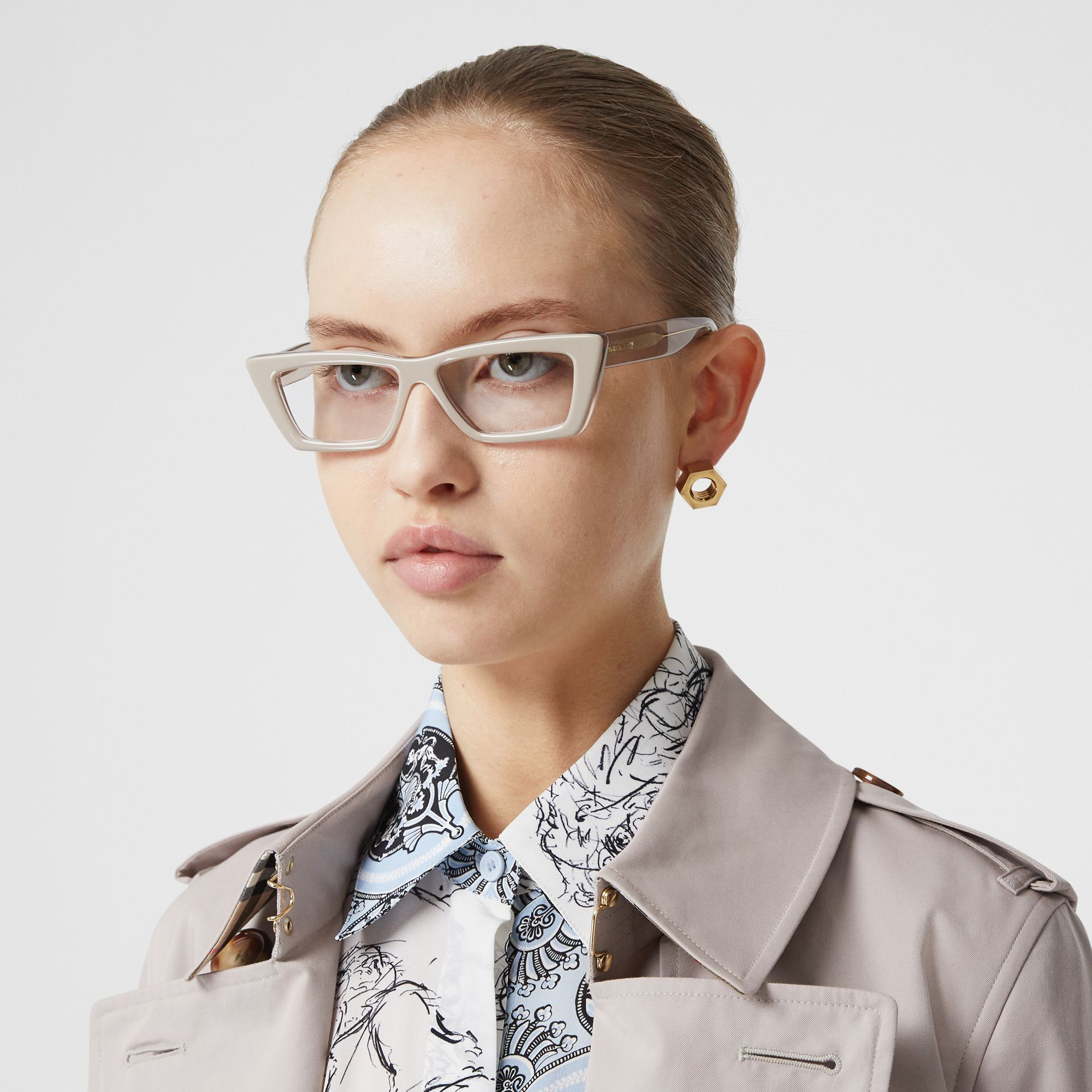 Rectangular Optical Frames in Nude - Women | Burberry - gallery image 2