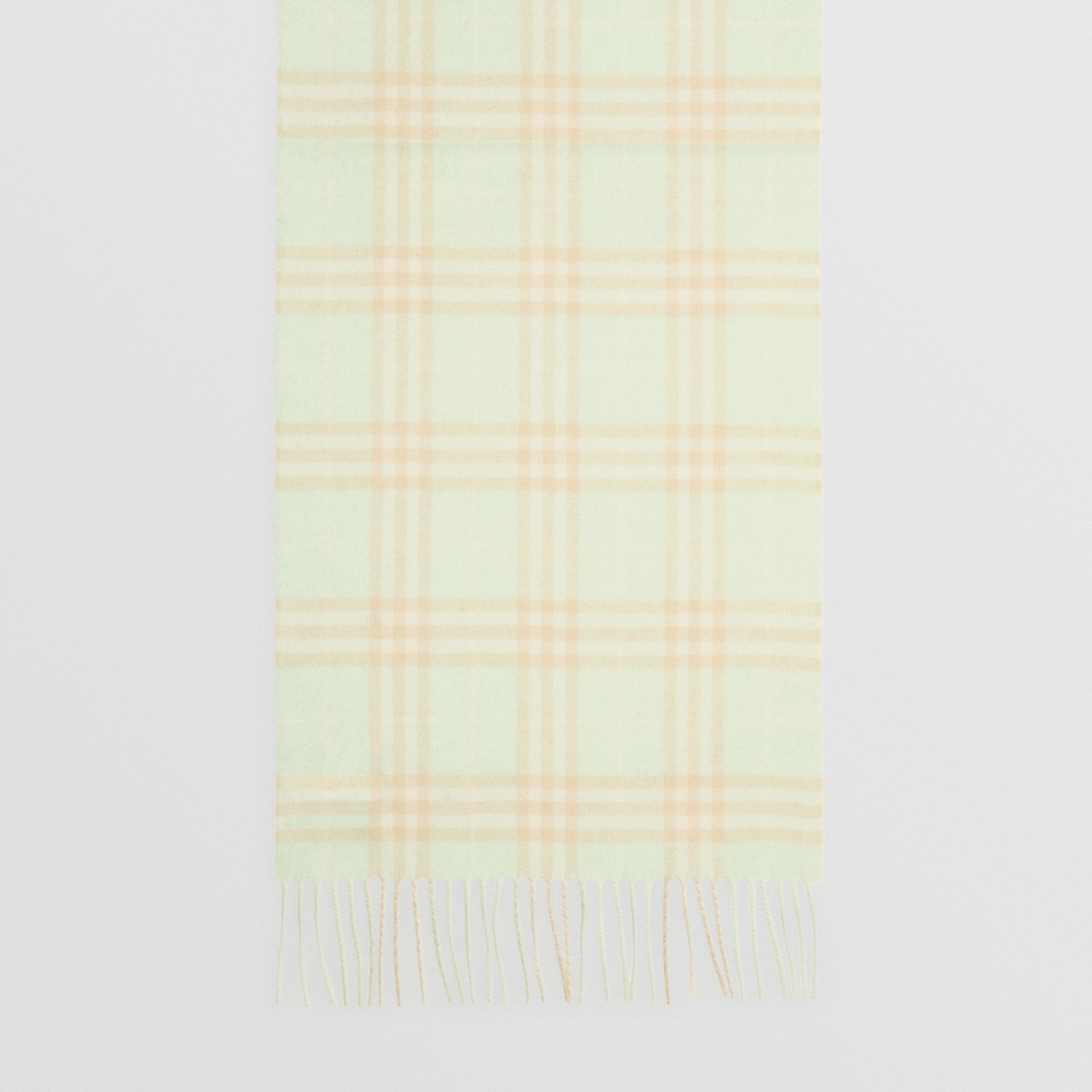 The Classic Vintage Check Cashmere Scarf in Pistachio | Burberry Singapore - gallery image 4