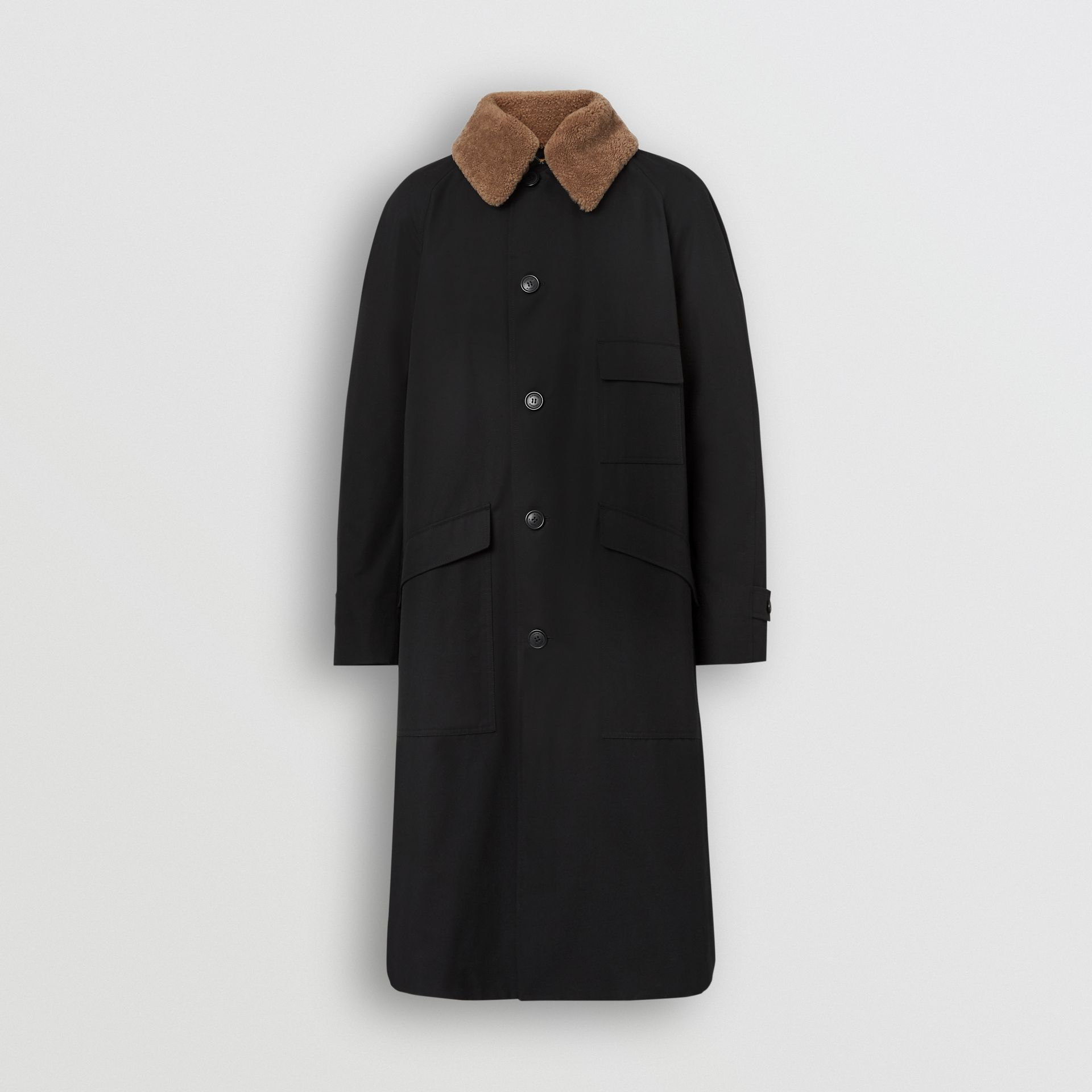 Contrast Shearling Collar Cotton Car Coat in Black - Men | Burberry Singapore - gallery image 7