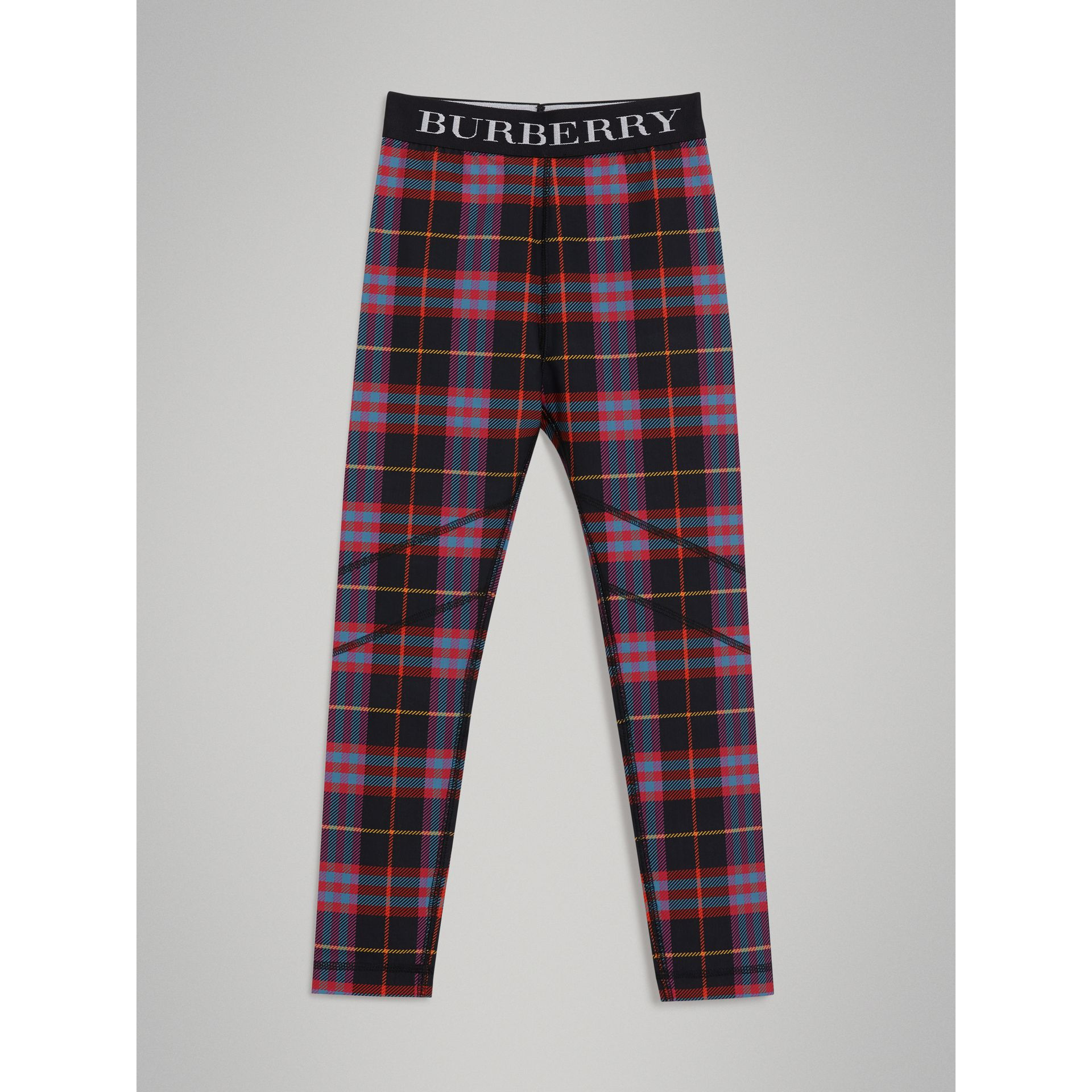Tartan Stretch Jersey Leggings in Pink Sorbet - Children | Burberry United States - gallery image 0