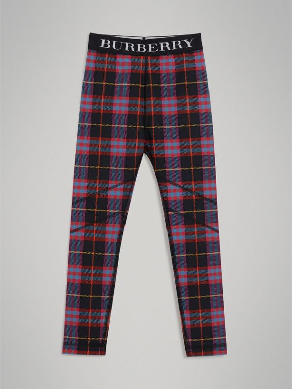 Leggings in jersey stretch con motivo tartan (Rosa Sorbetto)