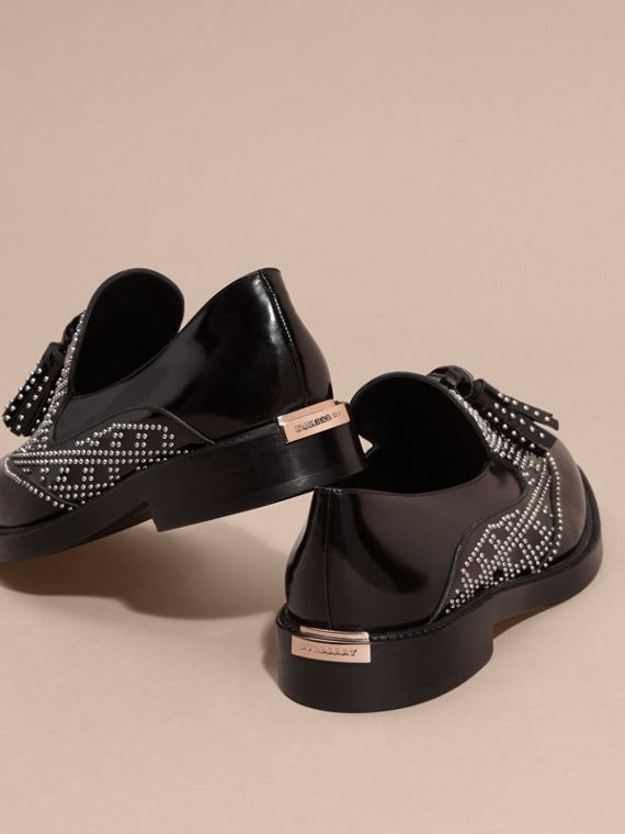 Black Studded Leather Tassel Loafers - cell image 3