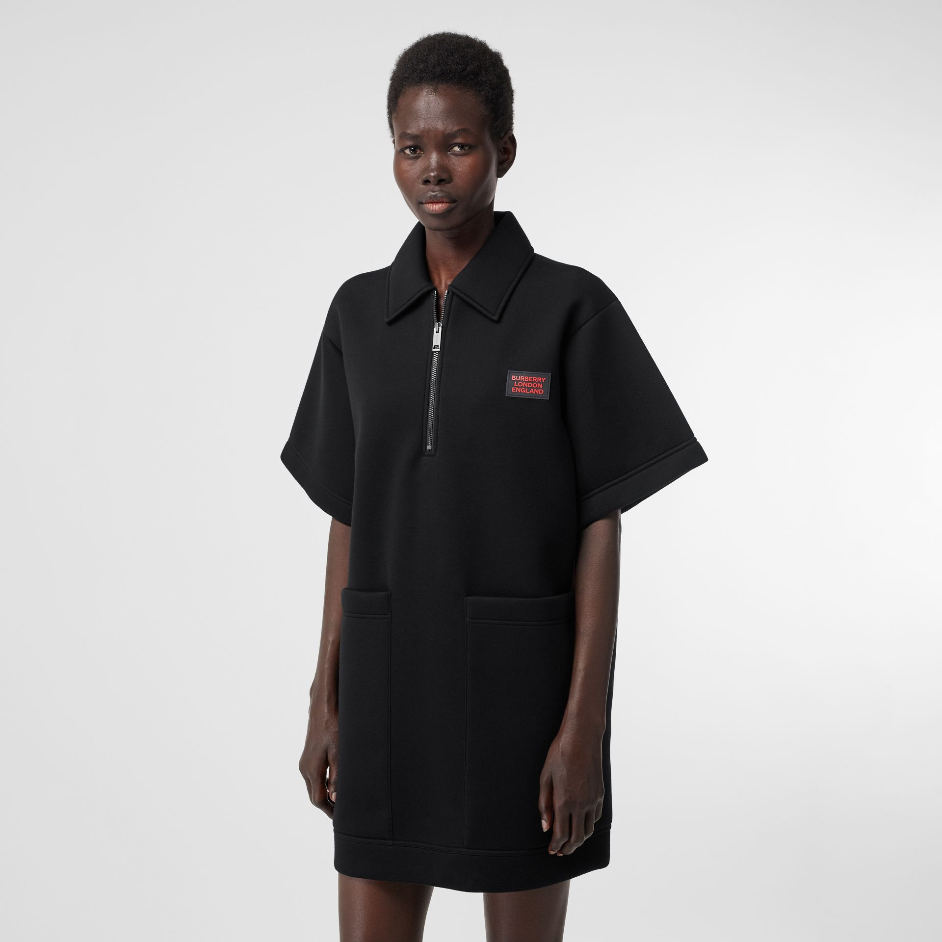 Two-tone Neoprene Mini Dress in Black - Women | Burberry United Kingdom - gallery image 5
