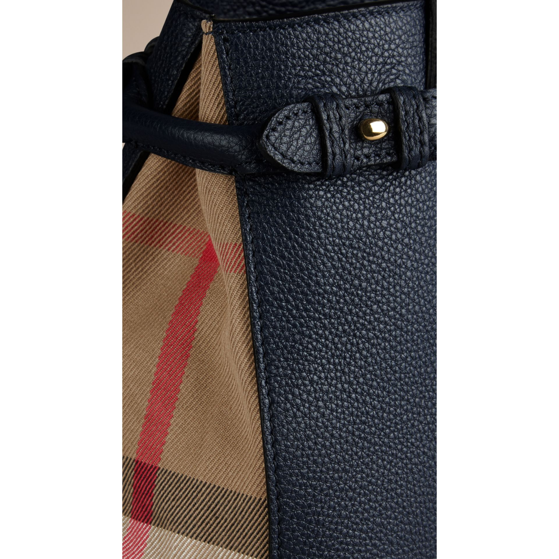 The Small Banner in Leather and House Check Midnight Blue - gallery image 2