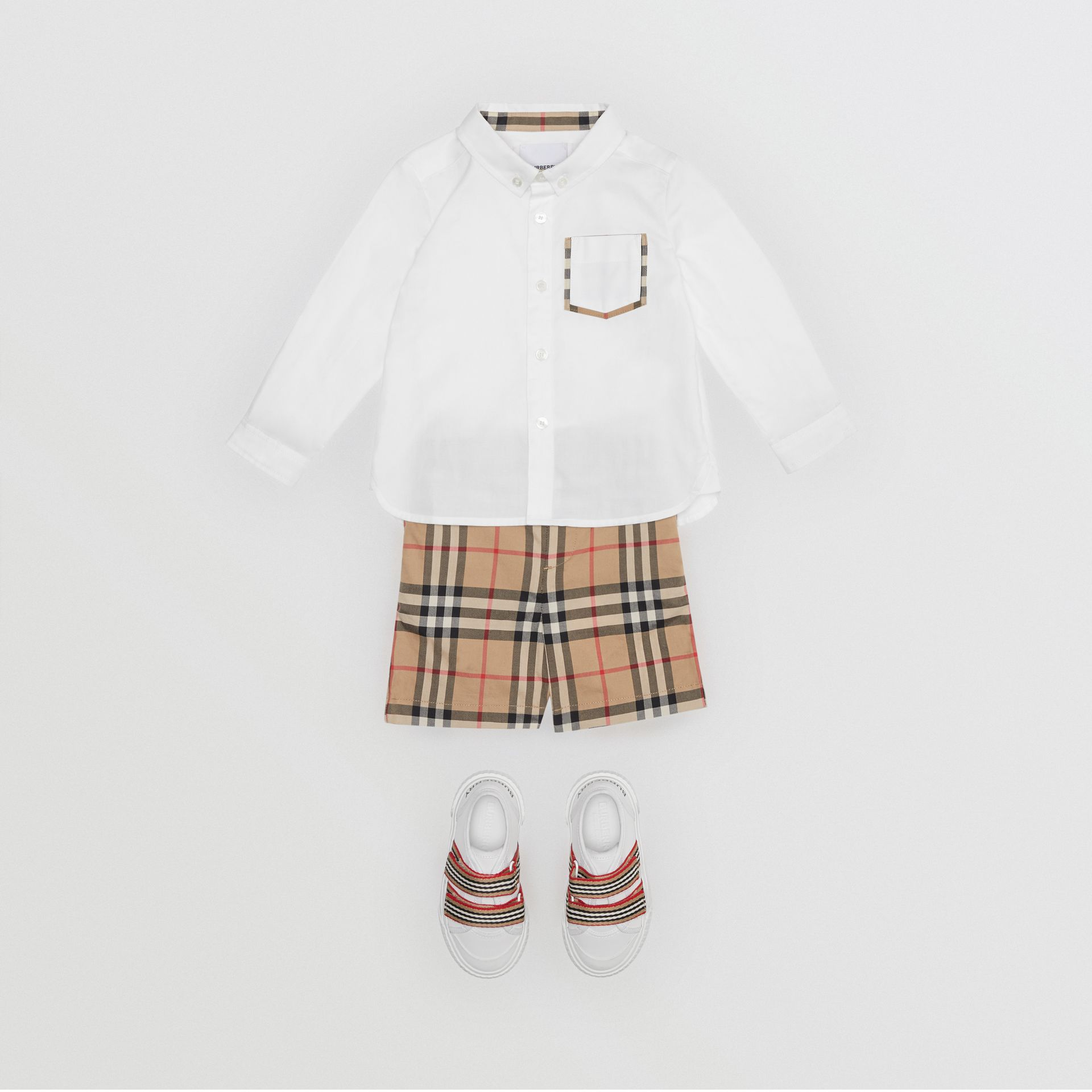 Vintage Check Detail Cotton Oxford Shirt in White - Children | Burberry - gallery image 2