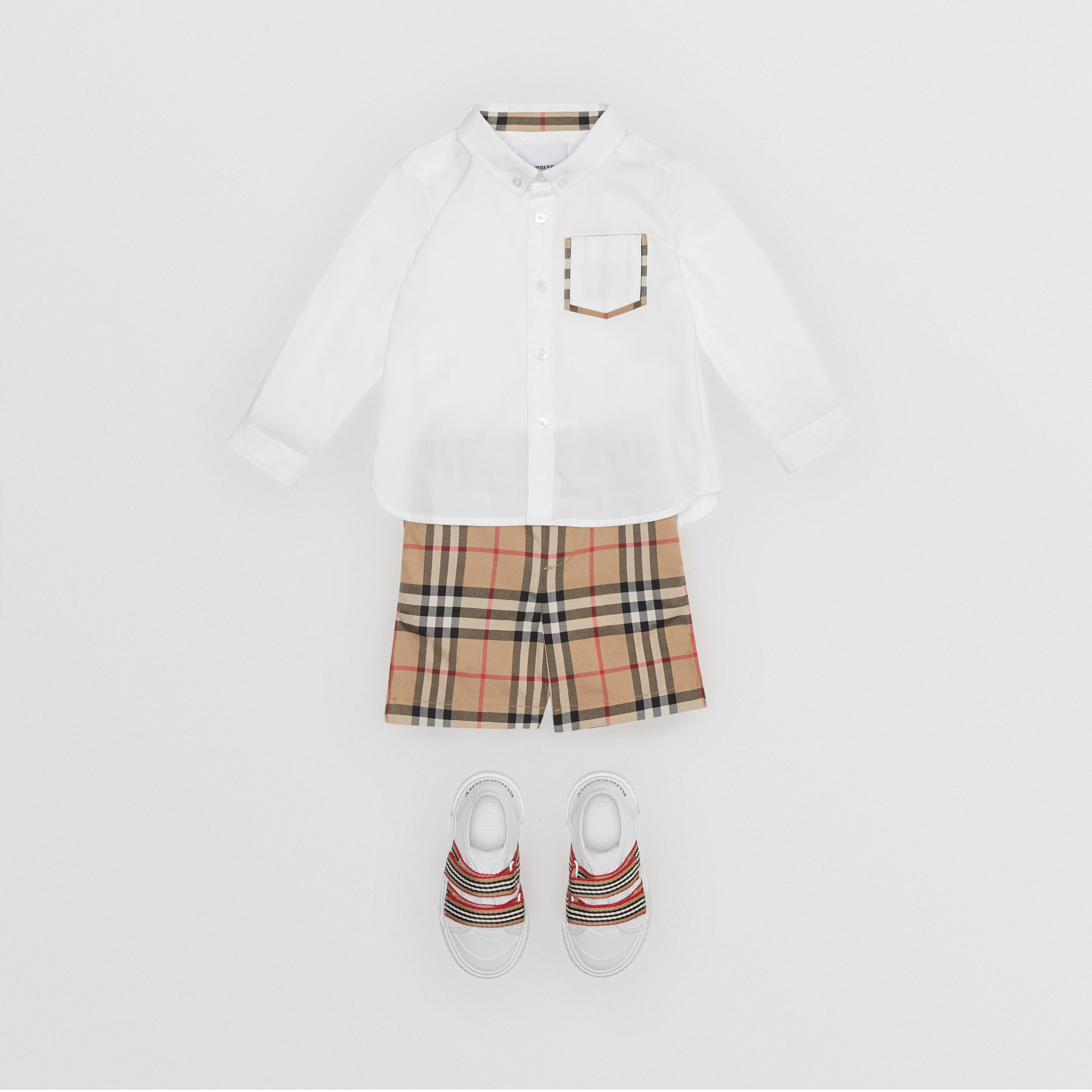 Vintage Check Detail Cotton Oxford Shirt in White - Children | Burberry - 3