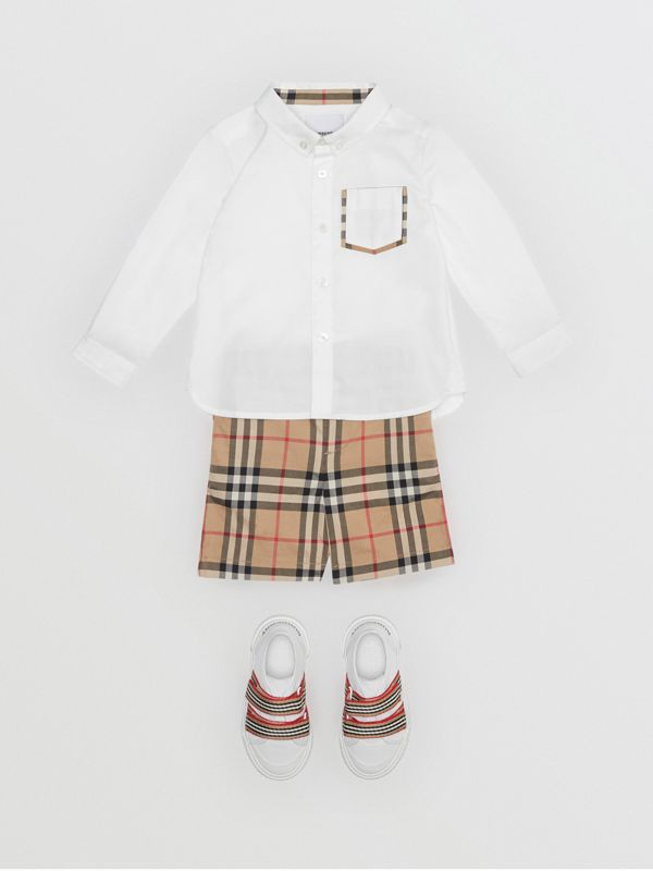Vintage Check Detail Cotton Oxford Shirt in White - Children | Burberry - cell image 2