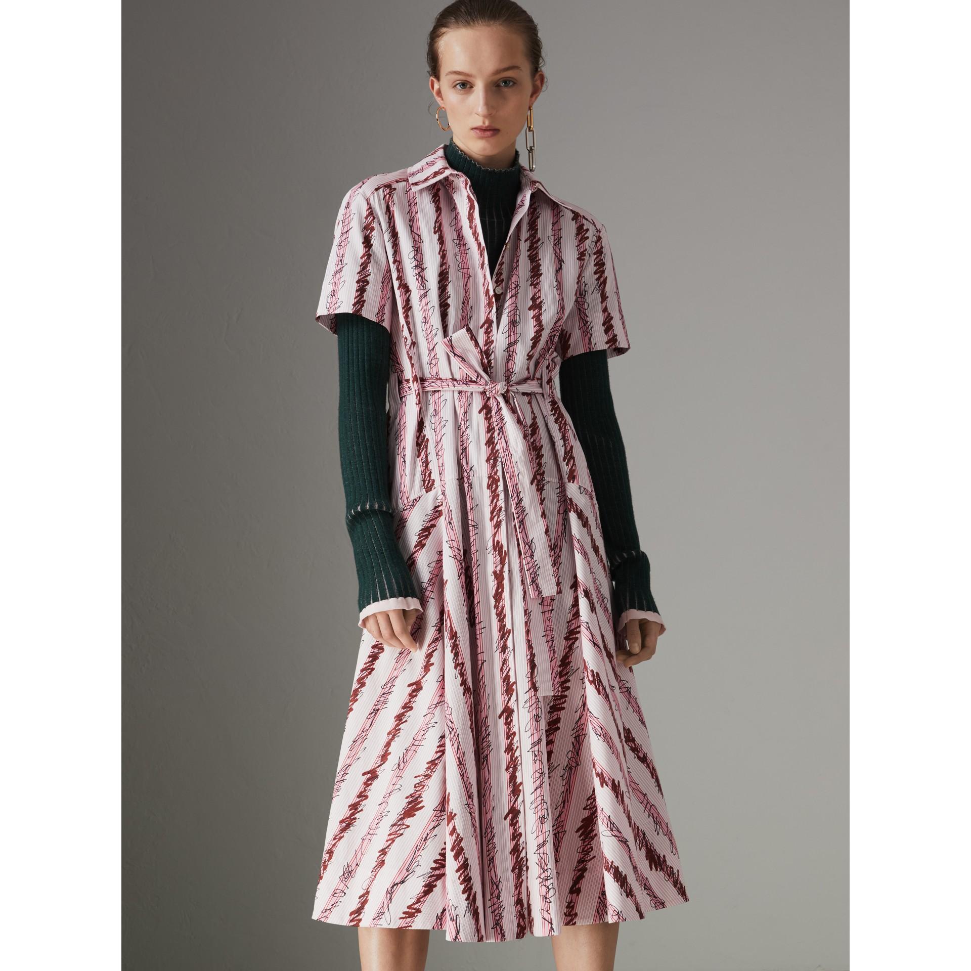 스크리블 스트라이프 코튼 셔츠 드레스 (라이트 핑크) - 여성 | Burberry - 갤러리 이미지 5