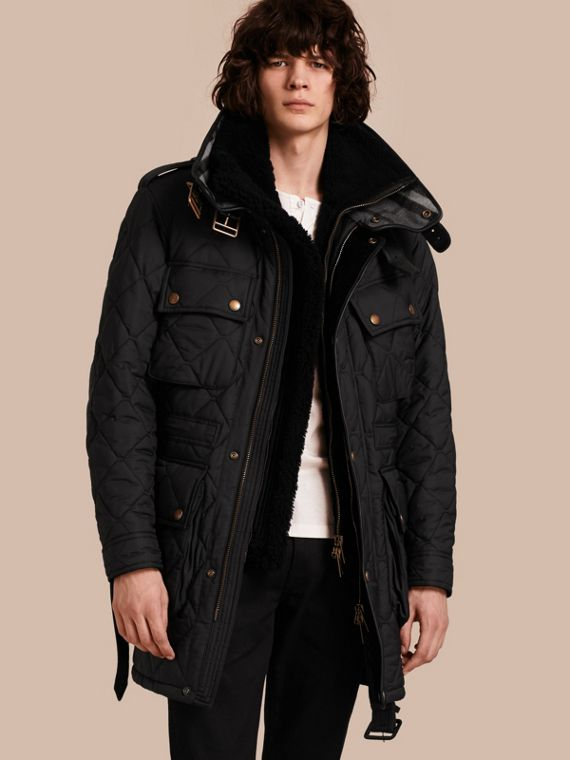 Oversize Quilted Field Jacket with Detachable Shearling Gilet