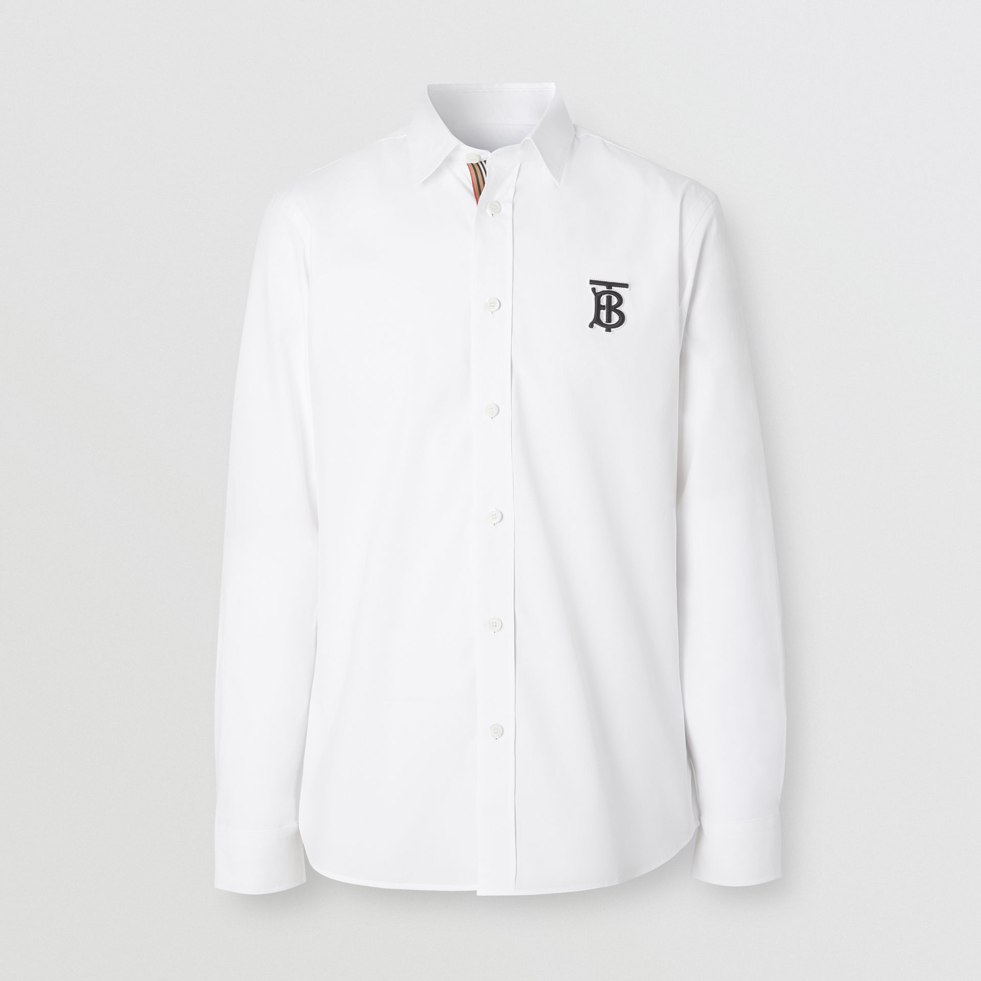 Monogram Motif Stretch Cotton Poplin Shirt in White - Men | Burberry - gallery image 3