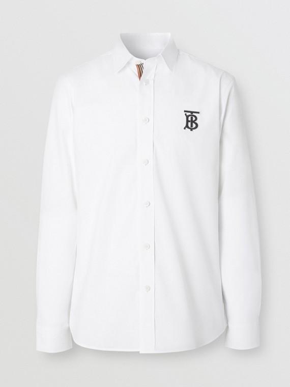 Camicia in popeline di cotone stretch con monogramma (Bianco)