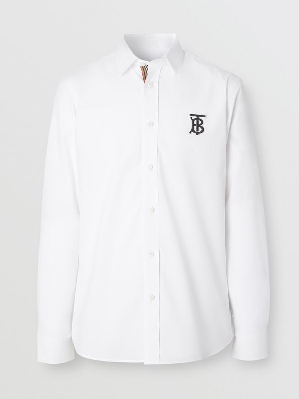 Monogram Motif Stretch Cotton Poplin Shirt in White - Men | Burberry - cell image 3