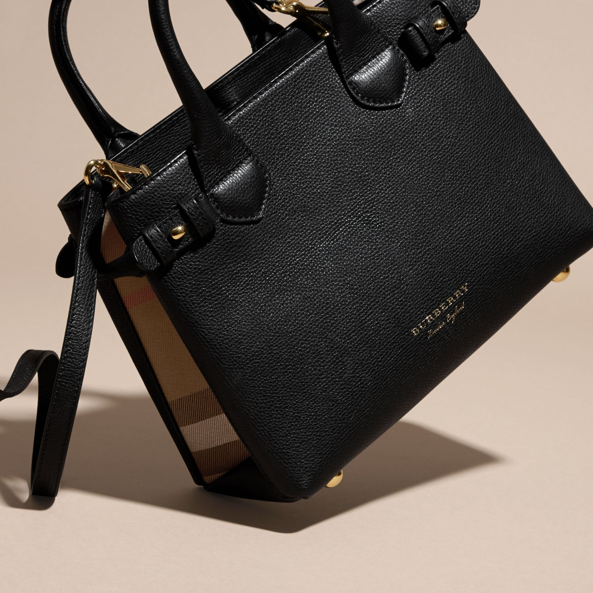 The Small Banner in Leather and House Check in Black - Women | Burberry - gallery image 7