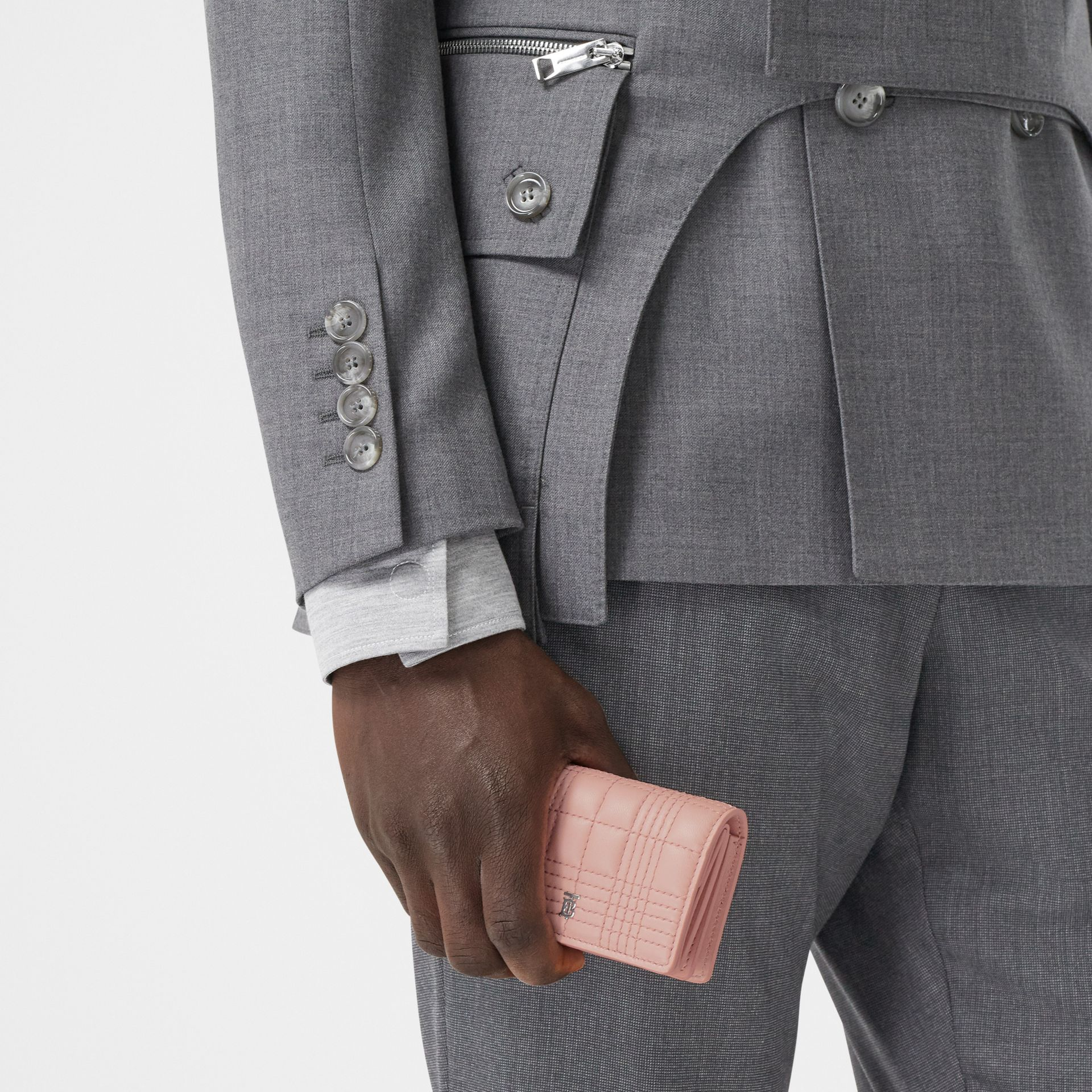 Quilted Lambskin Card Case with Detachable Strap in Blush Pink | Burberry - gallery image 2