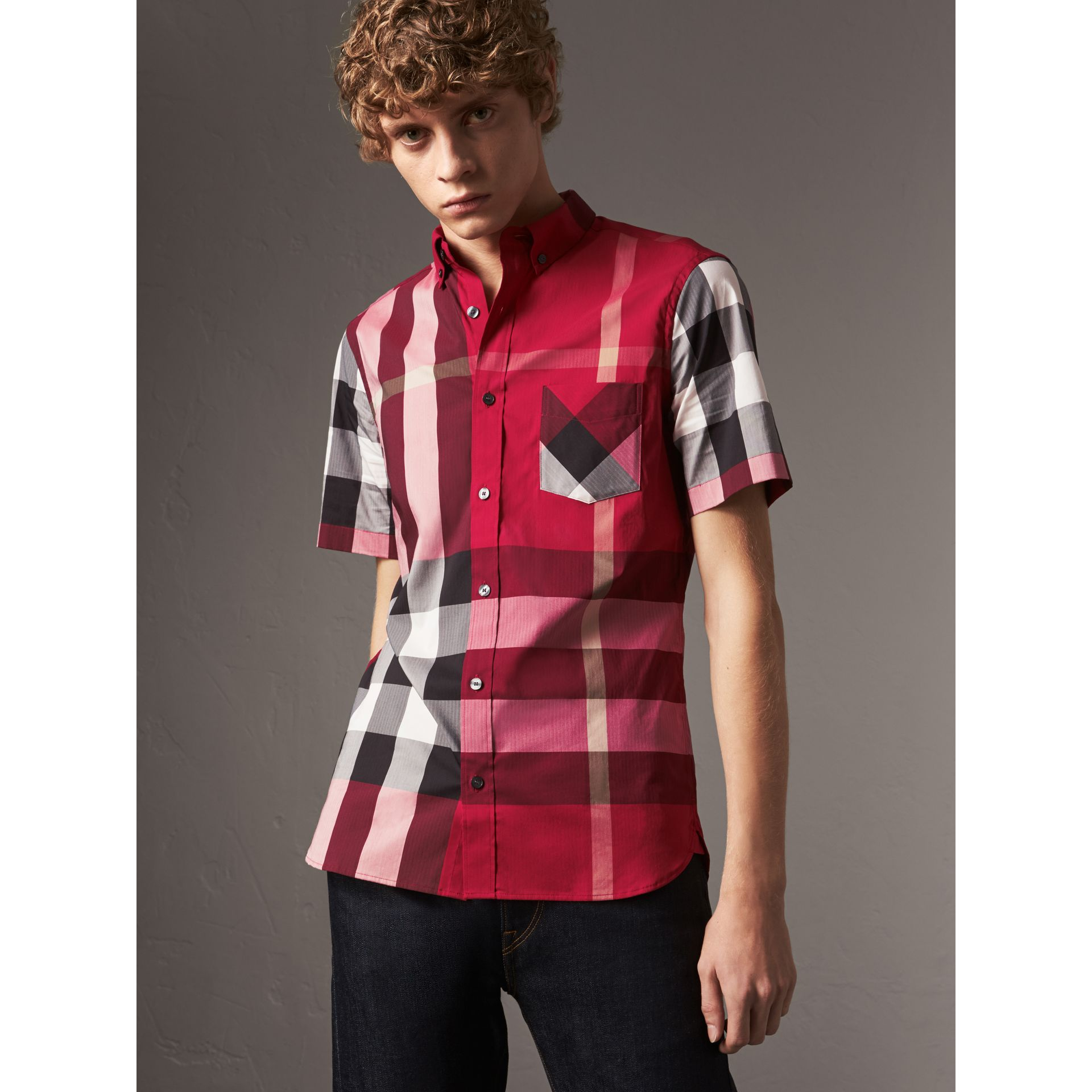 Short-sleeve Check Stretch Cotton Blend Shirt in Parade Red - Men | Burberry - gallery image 1