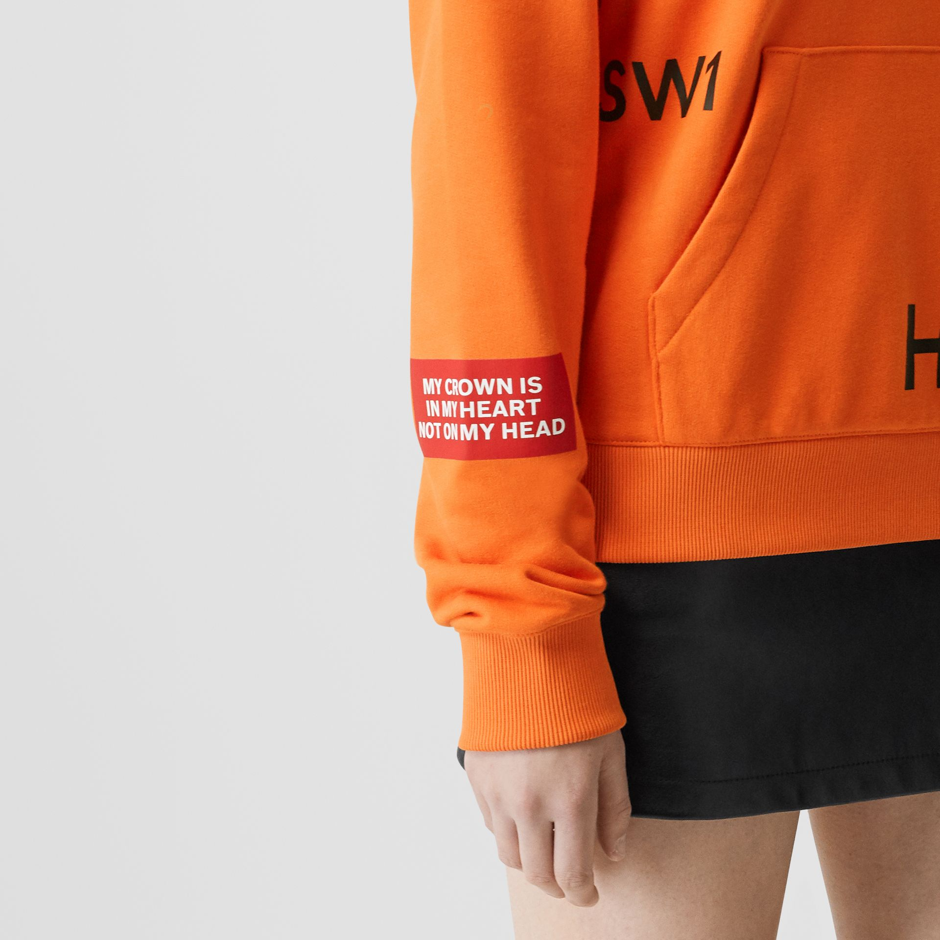 Horseferry Print Cotton Oversized Hoodie in Bright Orange - Women | Burberry - gallery image 4