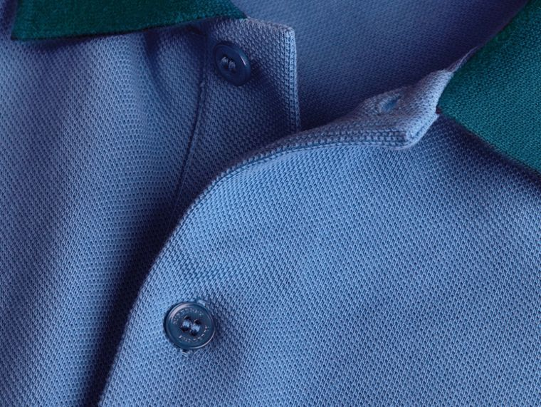 Bright hydrangea blue Colour-block Cotton Piqué Polo Shirt Bright Hydrangea Blue - cell image 1