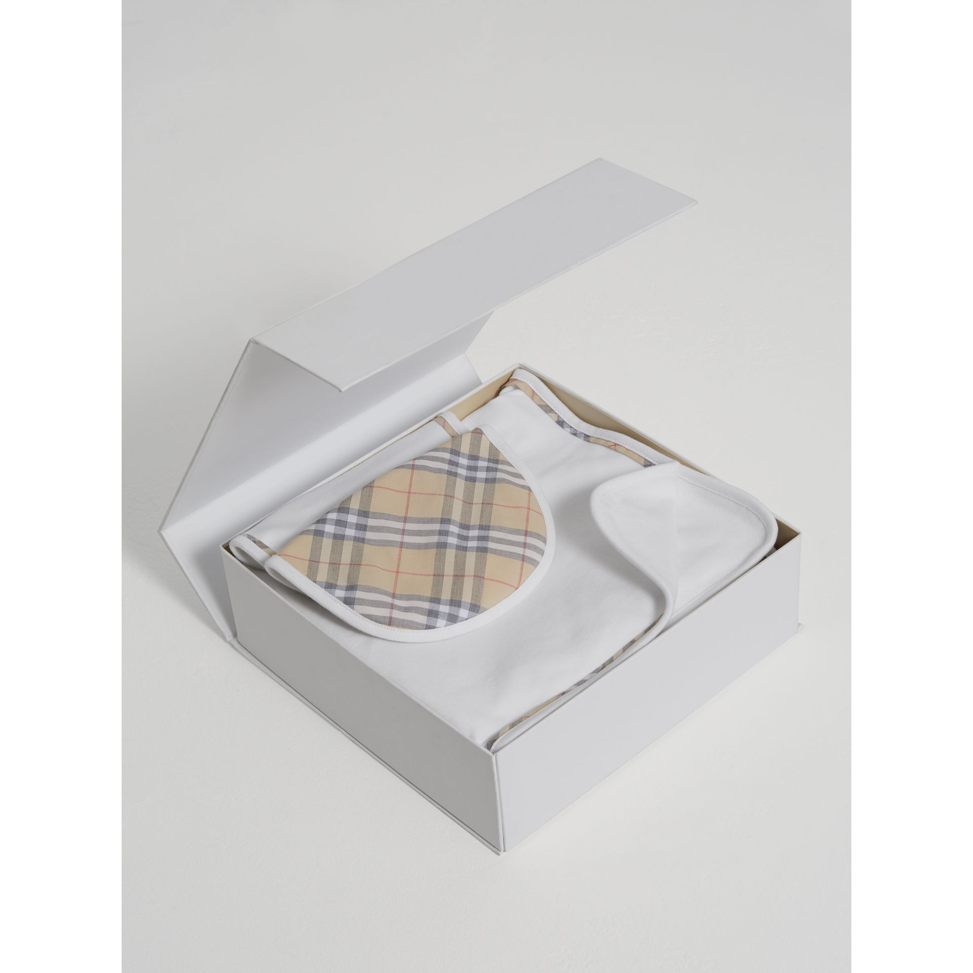 Cotton Three-piece Baby Gift Set in White | Burberry United States - gallery image 2