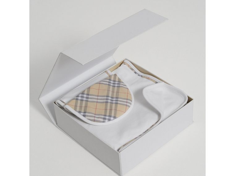 Cotton Three-piece Baby Gift Set in White | Burberry - cell image 2