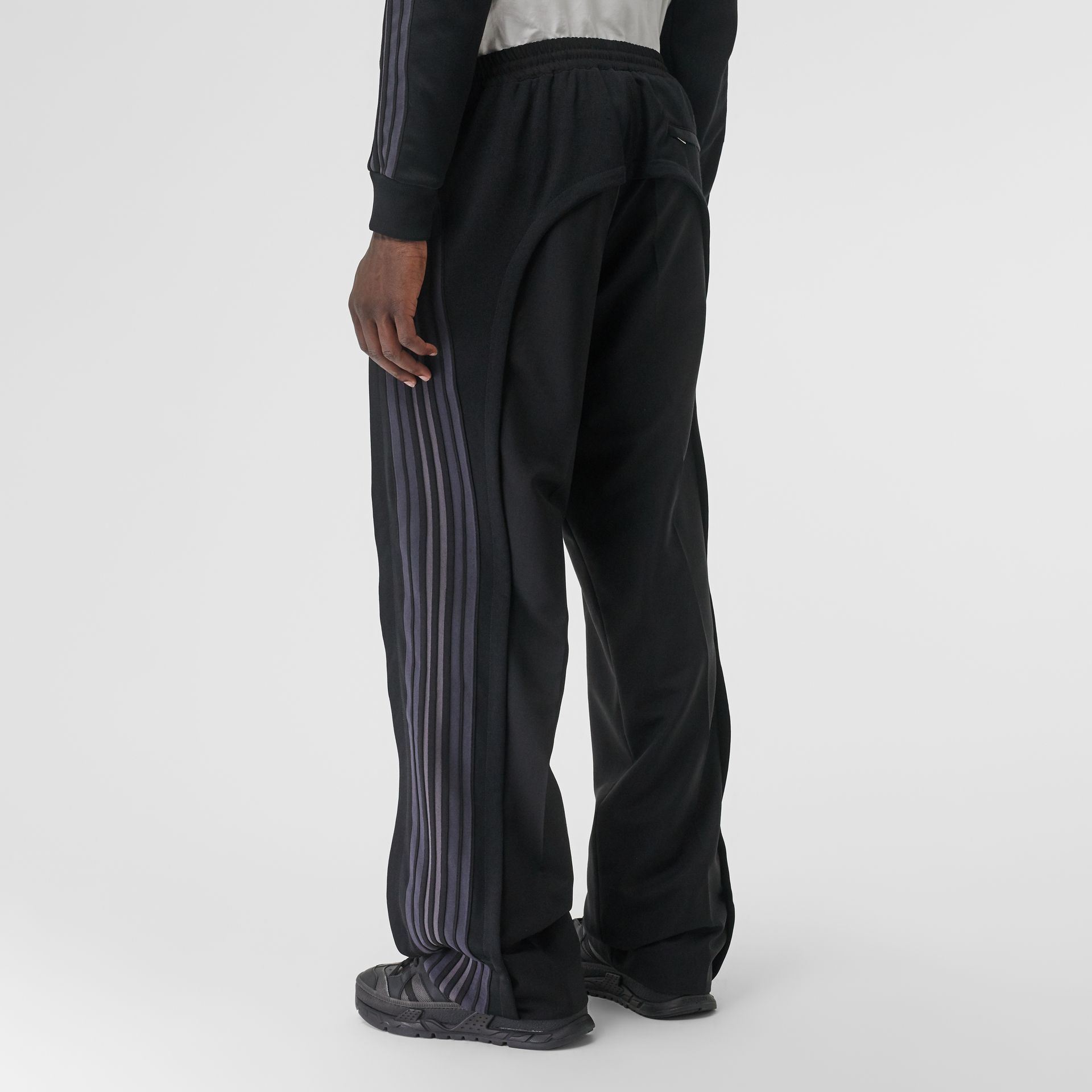 Striped Panel Wool Mohair Tailored Trousers in Black | Burberry Canada - gallery image 2