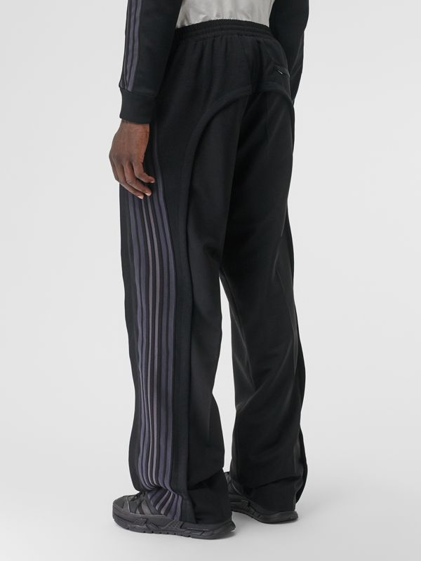 Striped Panel Wool Mohair Tailored Trousers in Black | Burberry - cell image 2