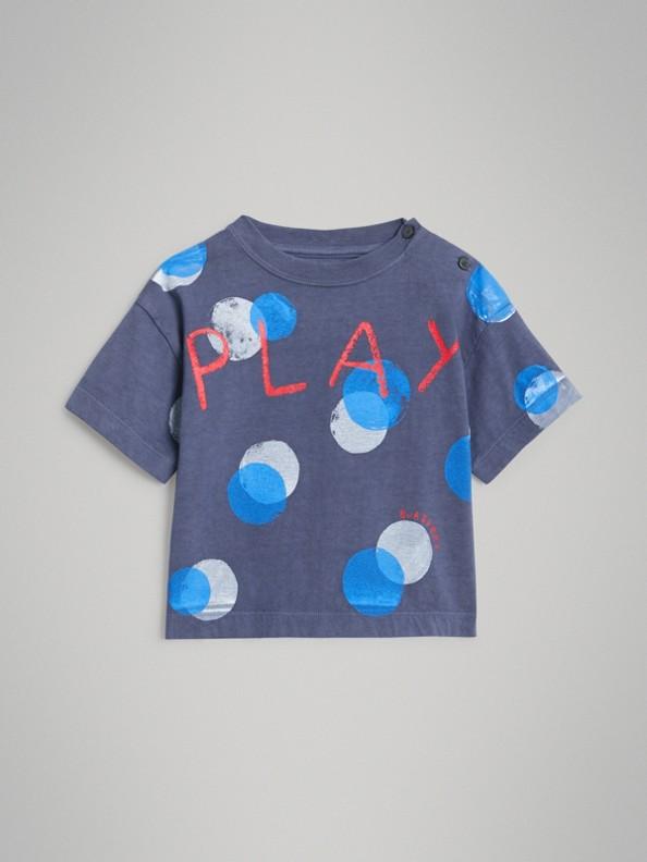 Oversized Spot Print Cotton T-shirt in Navy Melange