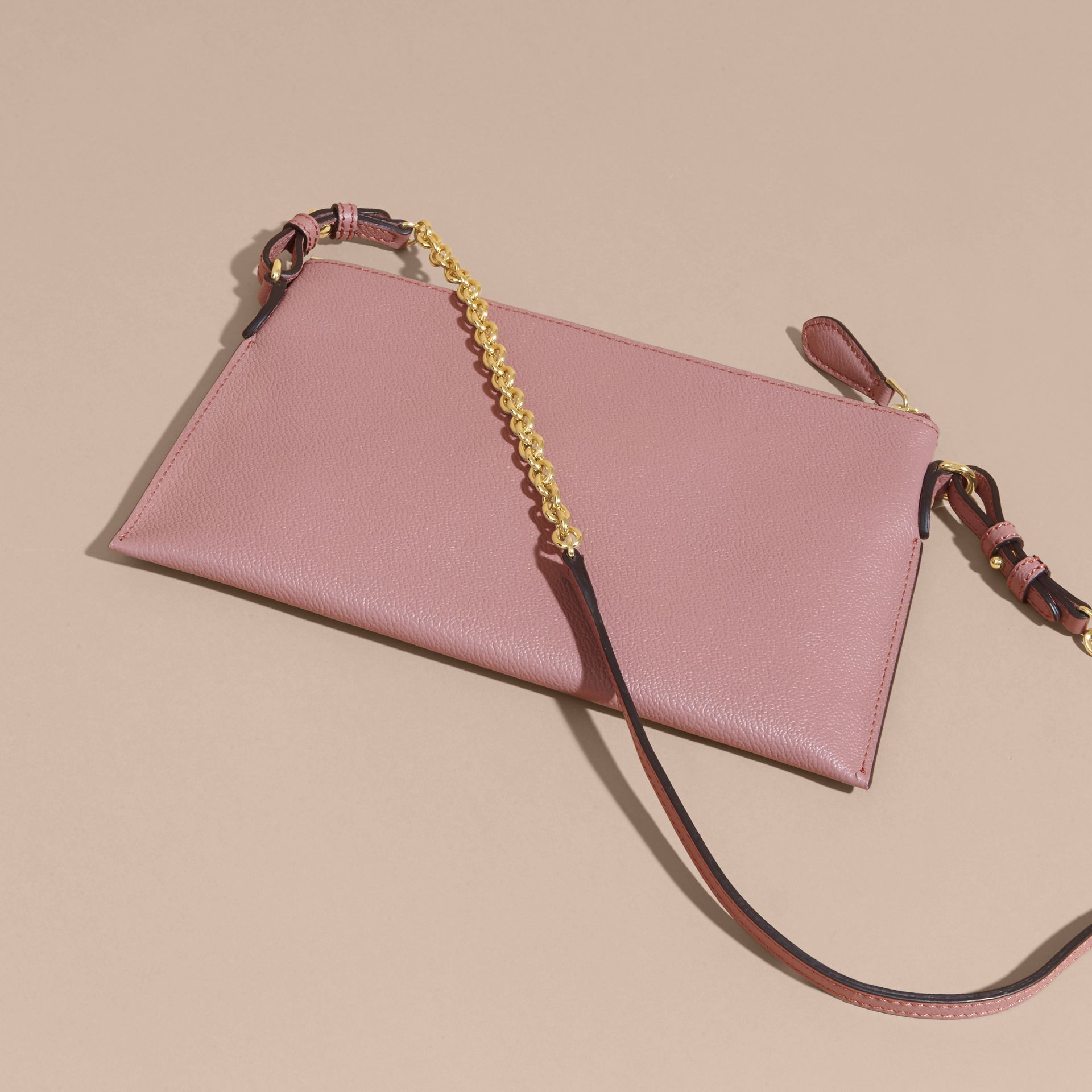 Leather Clutch Bag with Check Lining Dusty Pink - gallery image 5