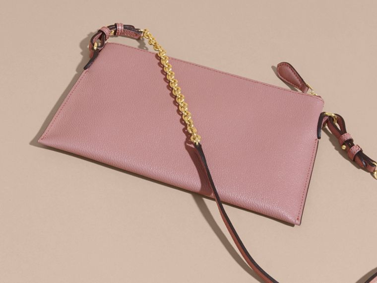Leather Clutch Bag with Check Lining Dusty Pink - cell image 4