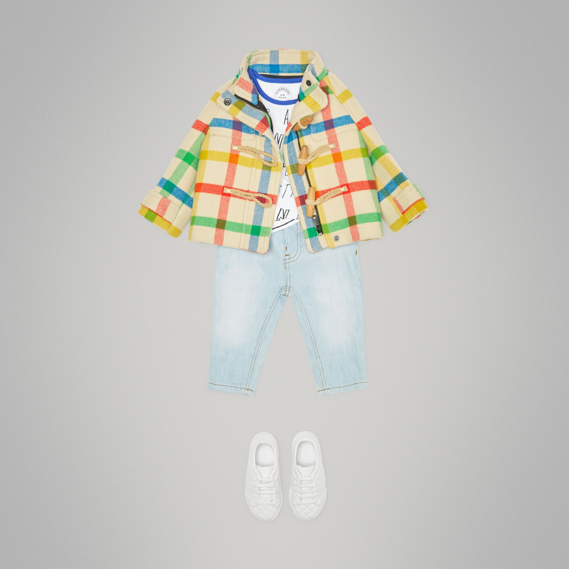 Duffle-coat en sergé de laine à motif check (Jaune Antique) - Enfant | Burberry - photo de la galerie 2