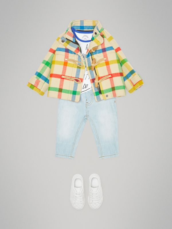 Duffle-coat en sergé de laine à motif check (Jaune Antique) - Enfant | Burberry - cell image 2