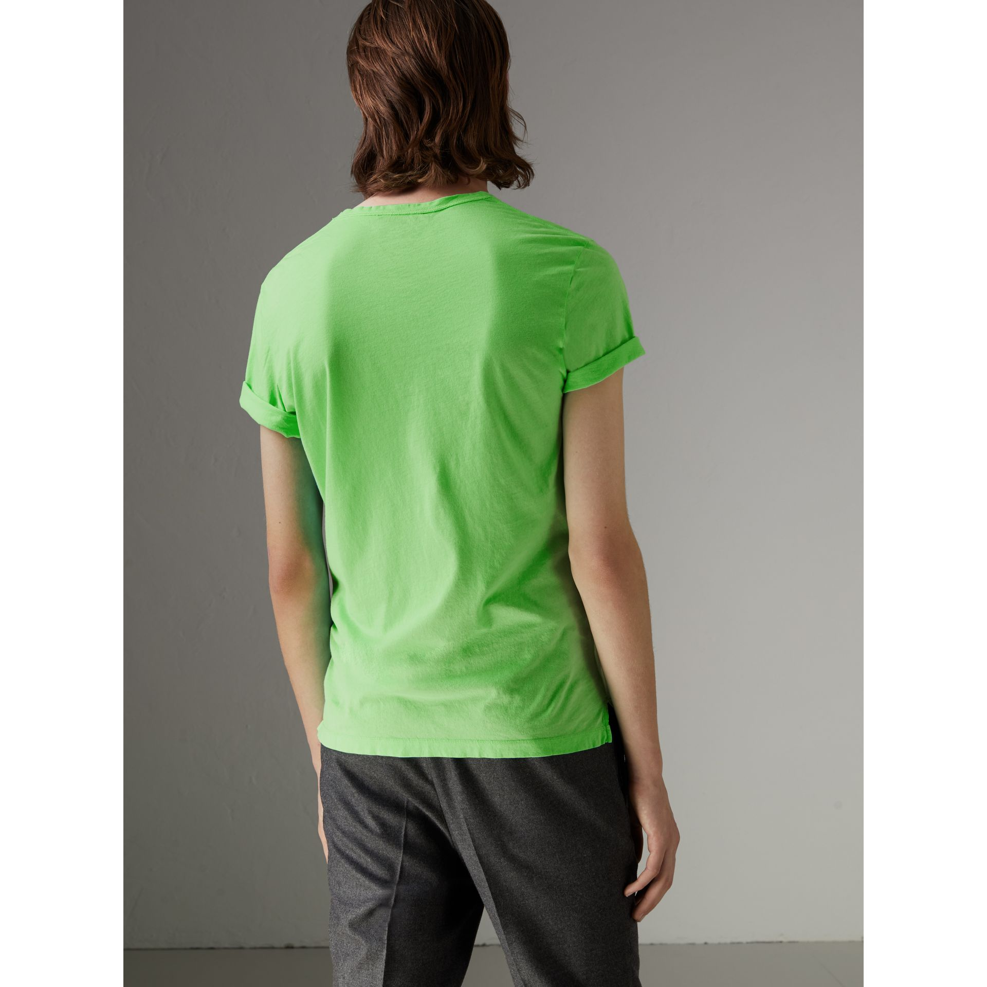 Doodle Print Cotton T-shirt in Bright Apple Green - Men | Burberry - gallery image 2