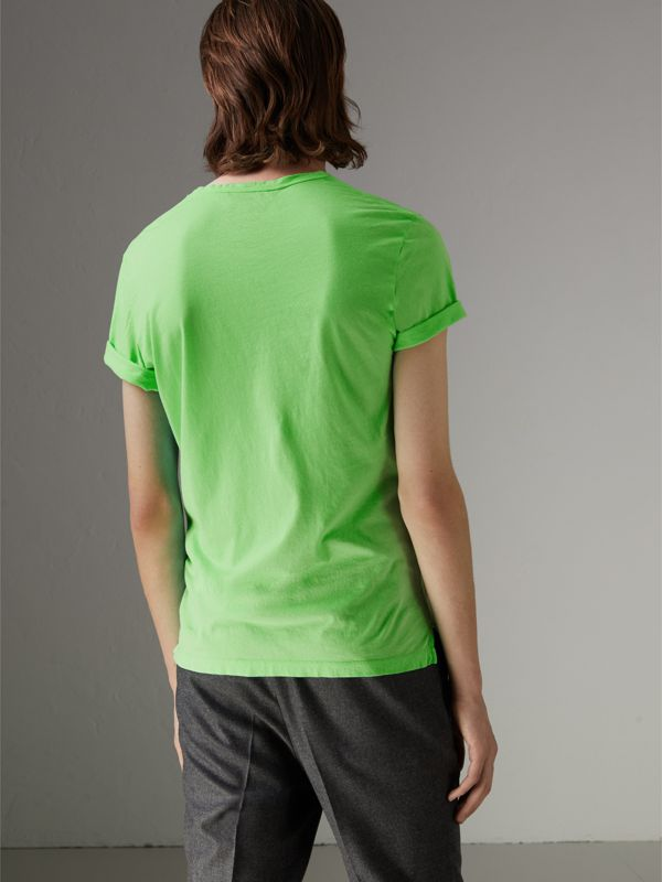 Doodle Print Cotton T-shirt in Bright Apple Green - Men | Burberry - cell image 2