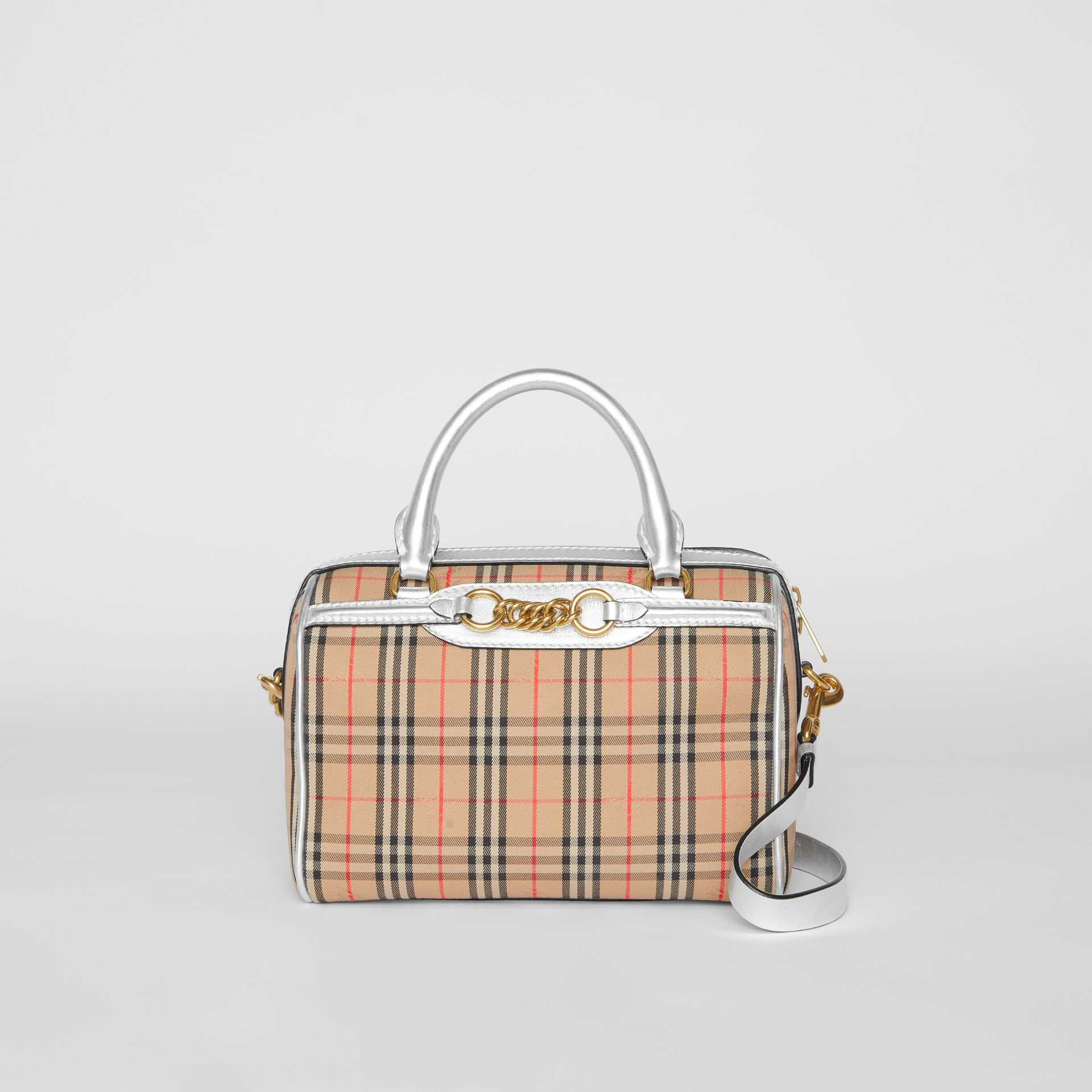 The Small 1983 Check Link Bowling Bag in Silver - Women | Burberry - gallery image 0
