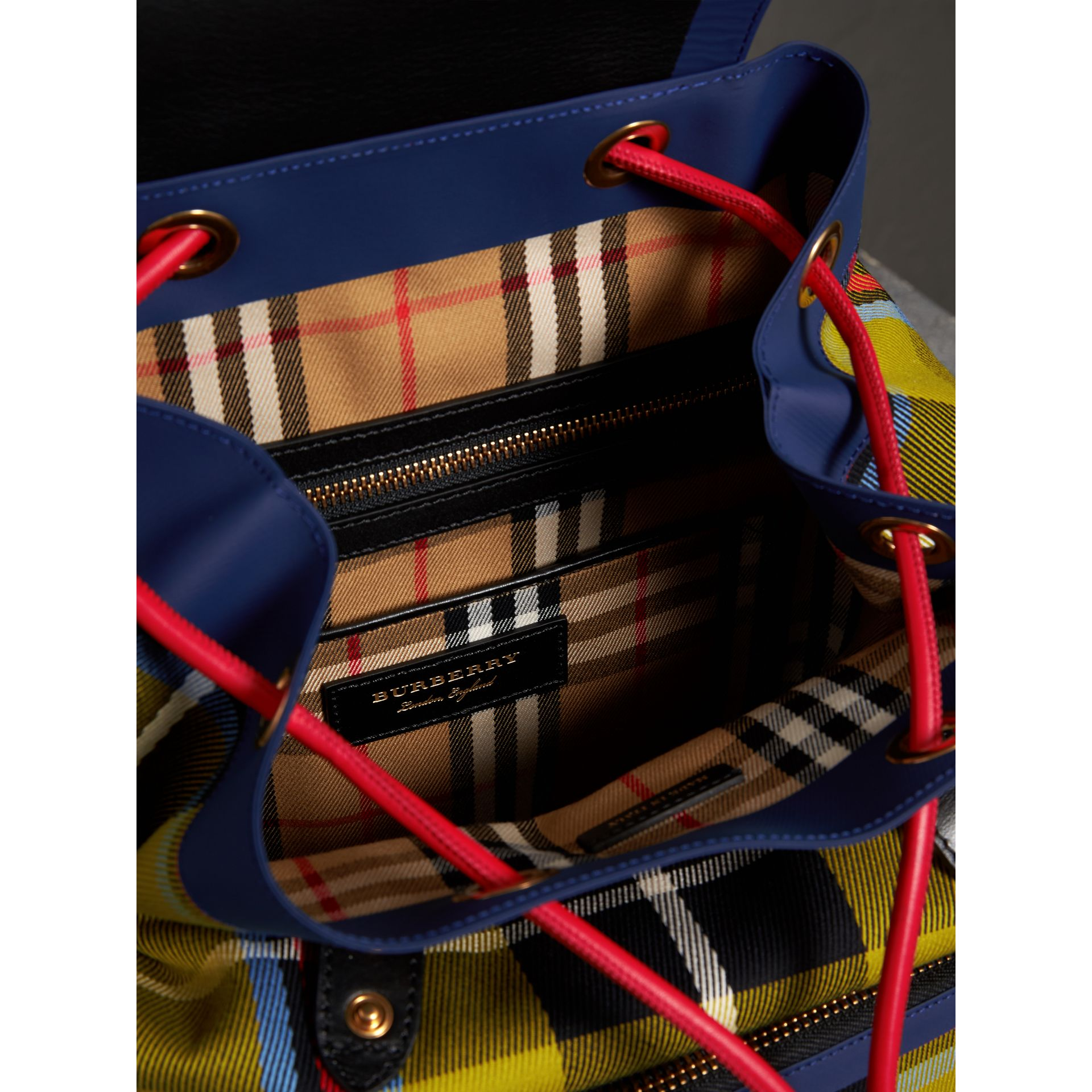 The Medium Rucksack in Tartan and Vintage Check in Flax Yellow - Women | Burberry Australia - gallery image 3