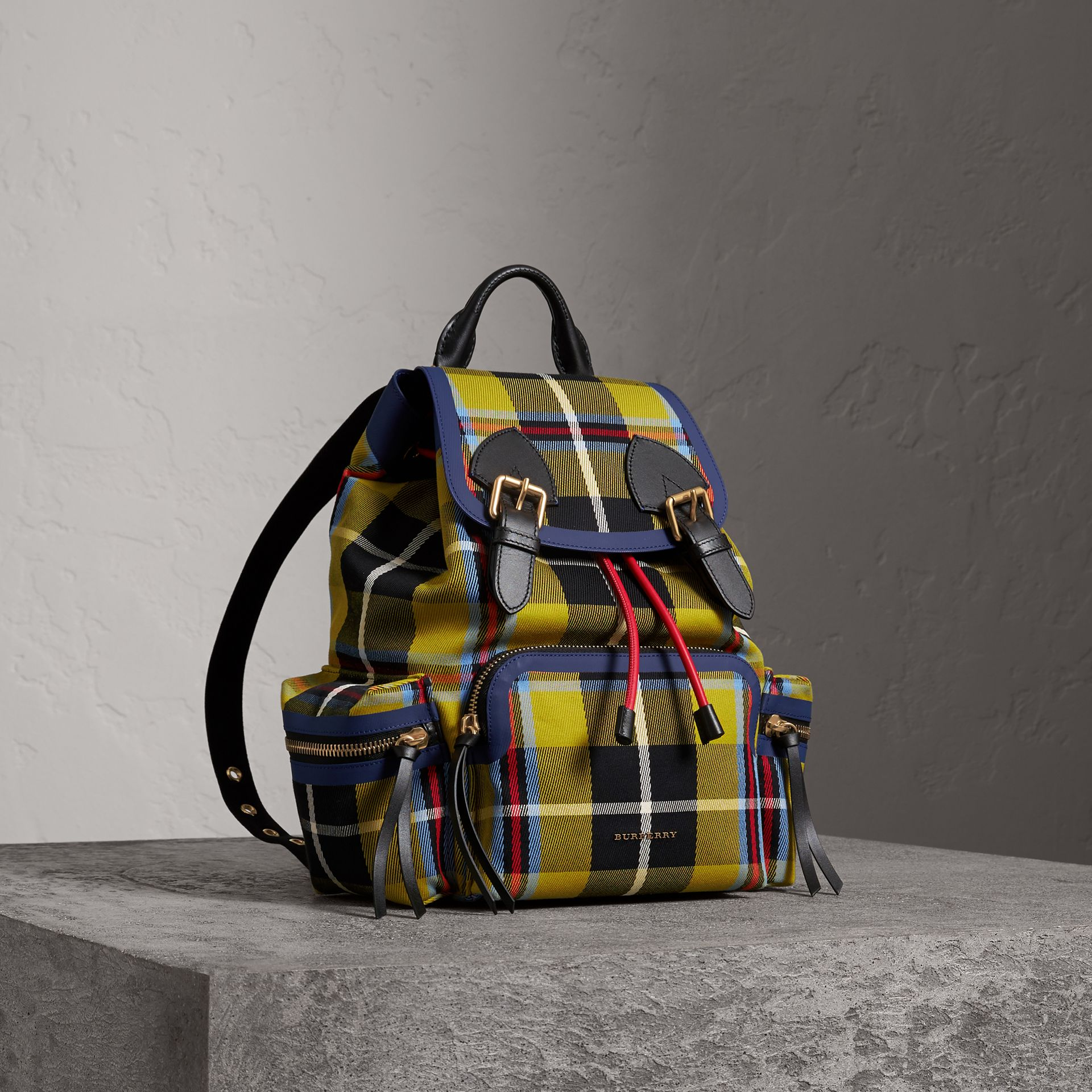 The Medium Rucksack in Tartan and Vintage Check in Flax Yellow - Women | Burberry Australia - gallery image 0