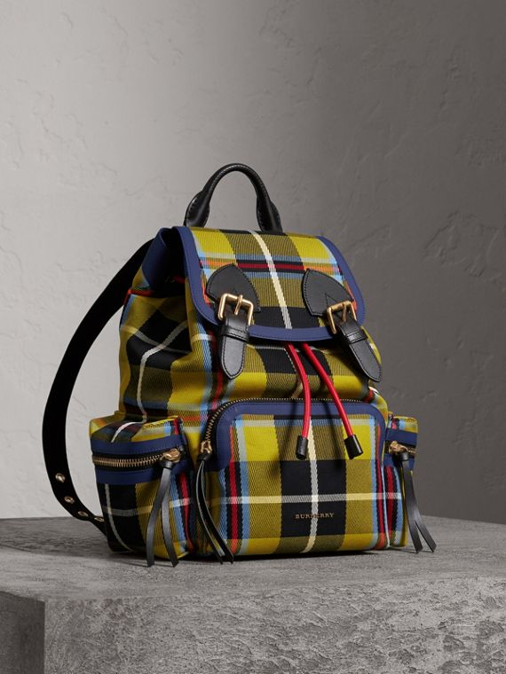 The Medium Rucksack in Tartan and Vintage Check in Flax Yellow