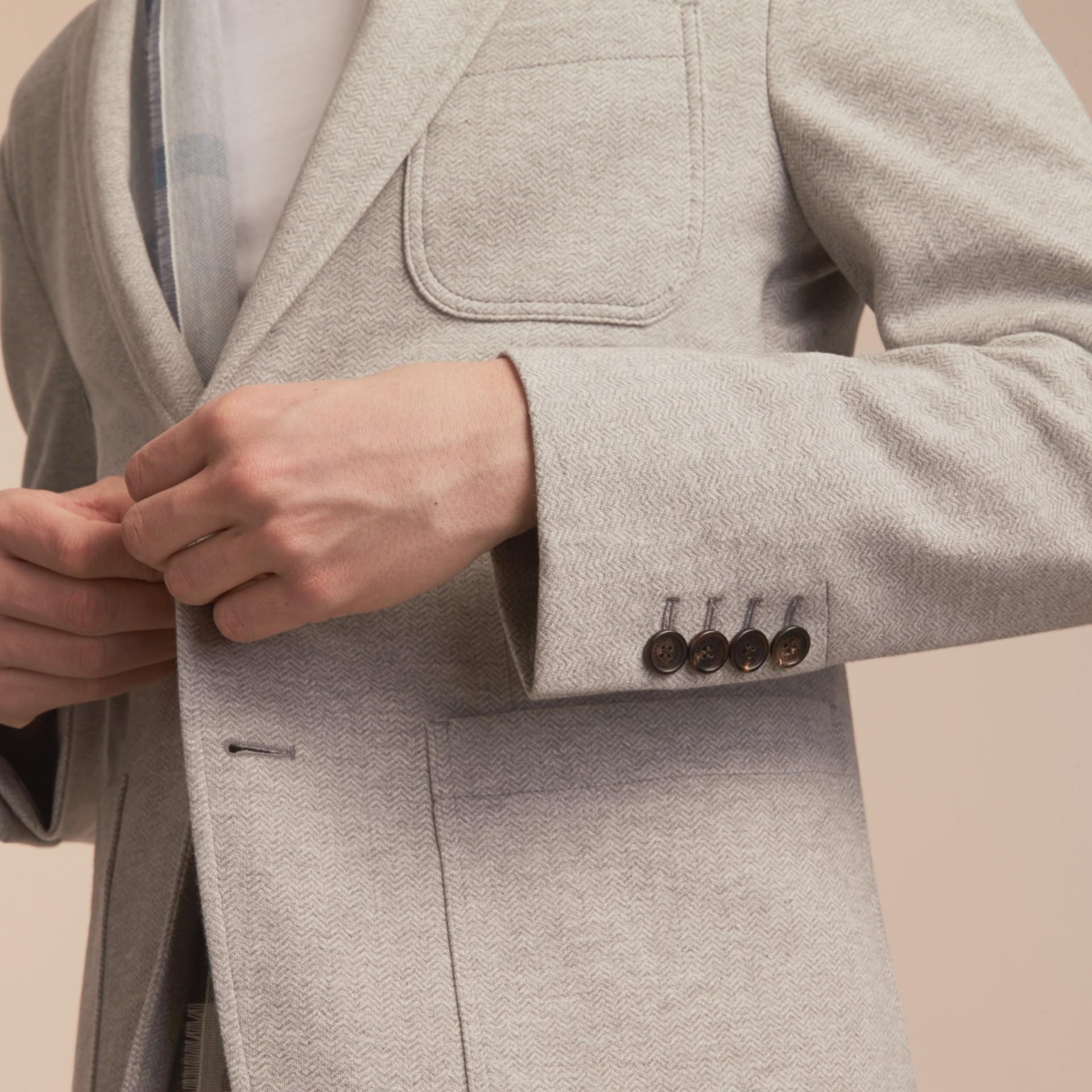 Herringbone Cotton Blend Jersey Blazer - gallery image 6