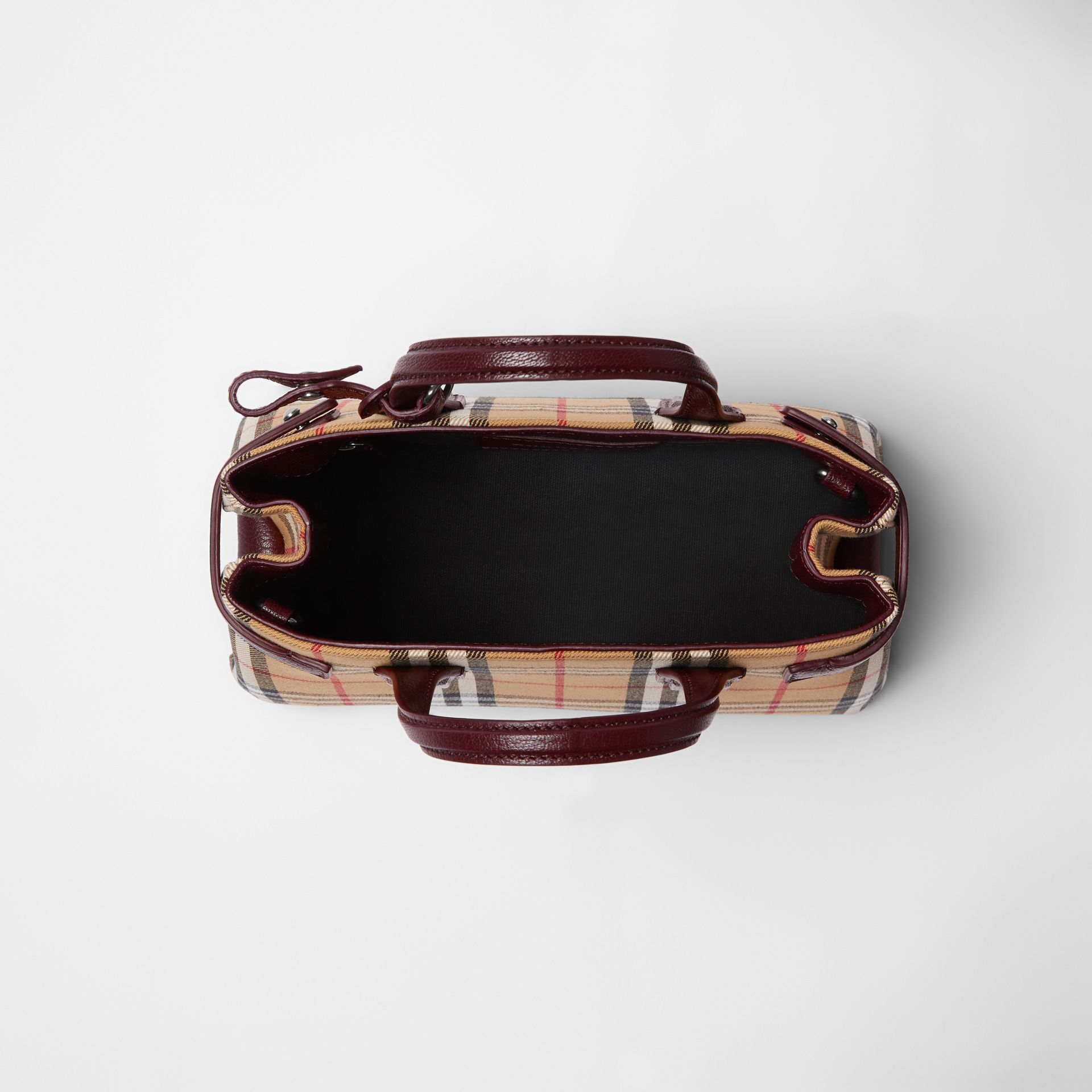 The Small Banner in Vintage Check and Leather in Deep Claret - Women | Burberry Canada - gallery image 5