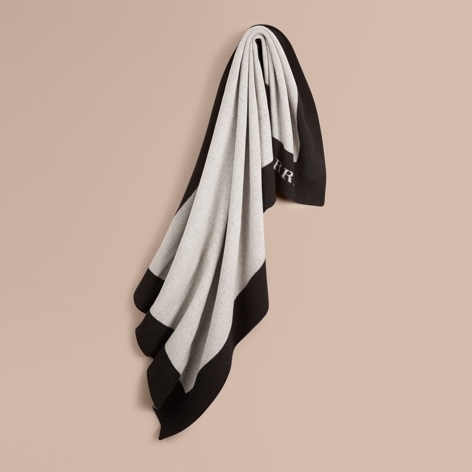 Black/white Contrast Border Wool Cashmere Blanket - gallery image 1