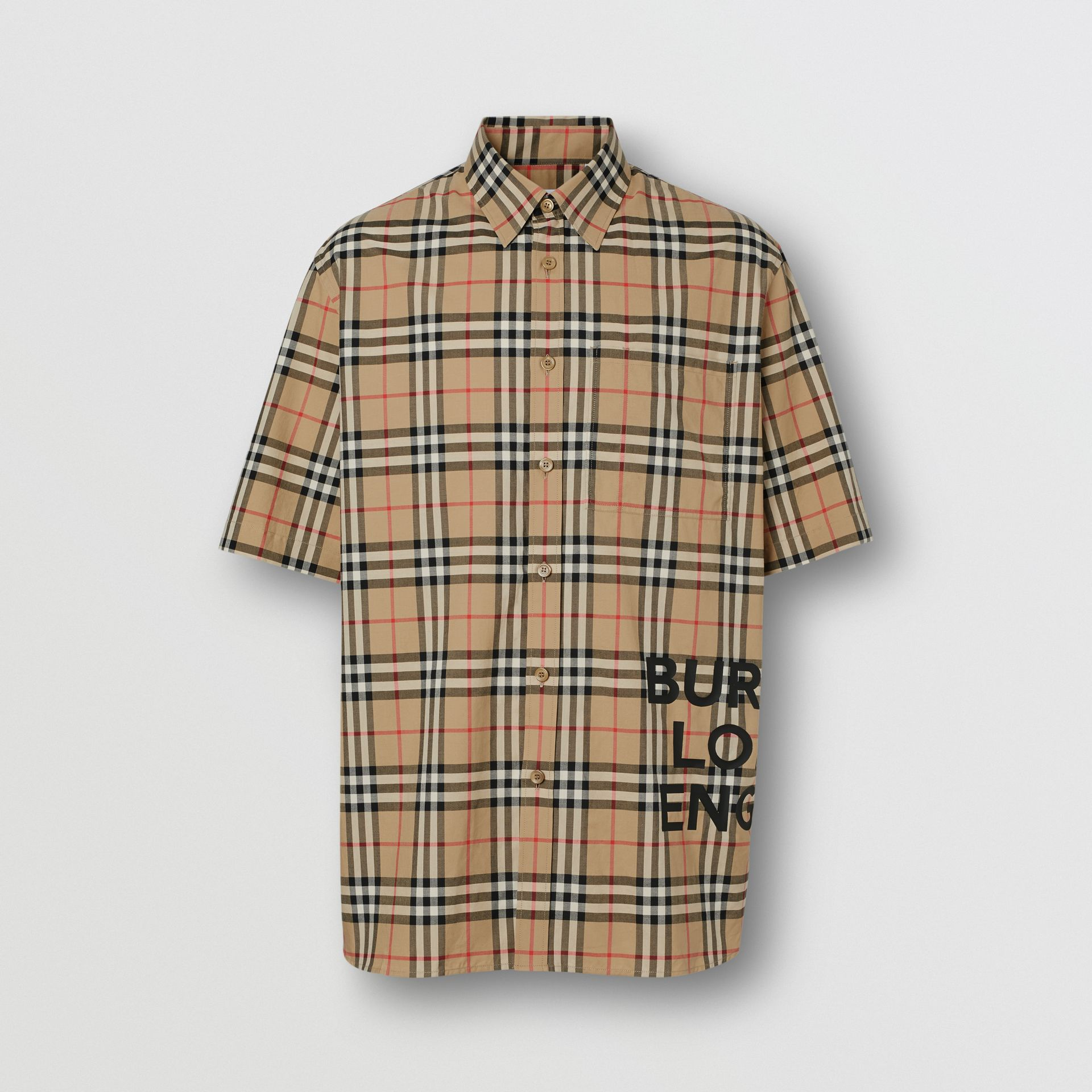 Short-sleeve Vintage Check Cotton Oversized Shirt in Archive Beige - Men | Burberry - gallery image 3