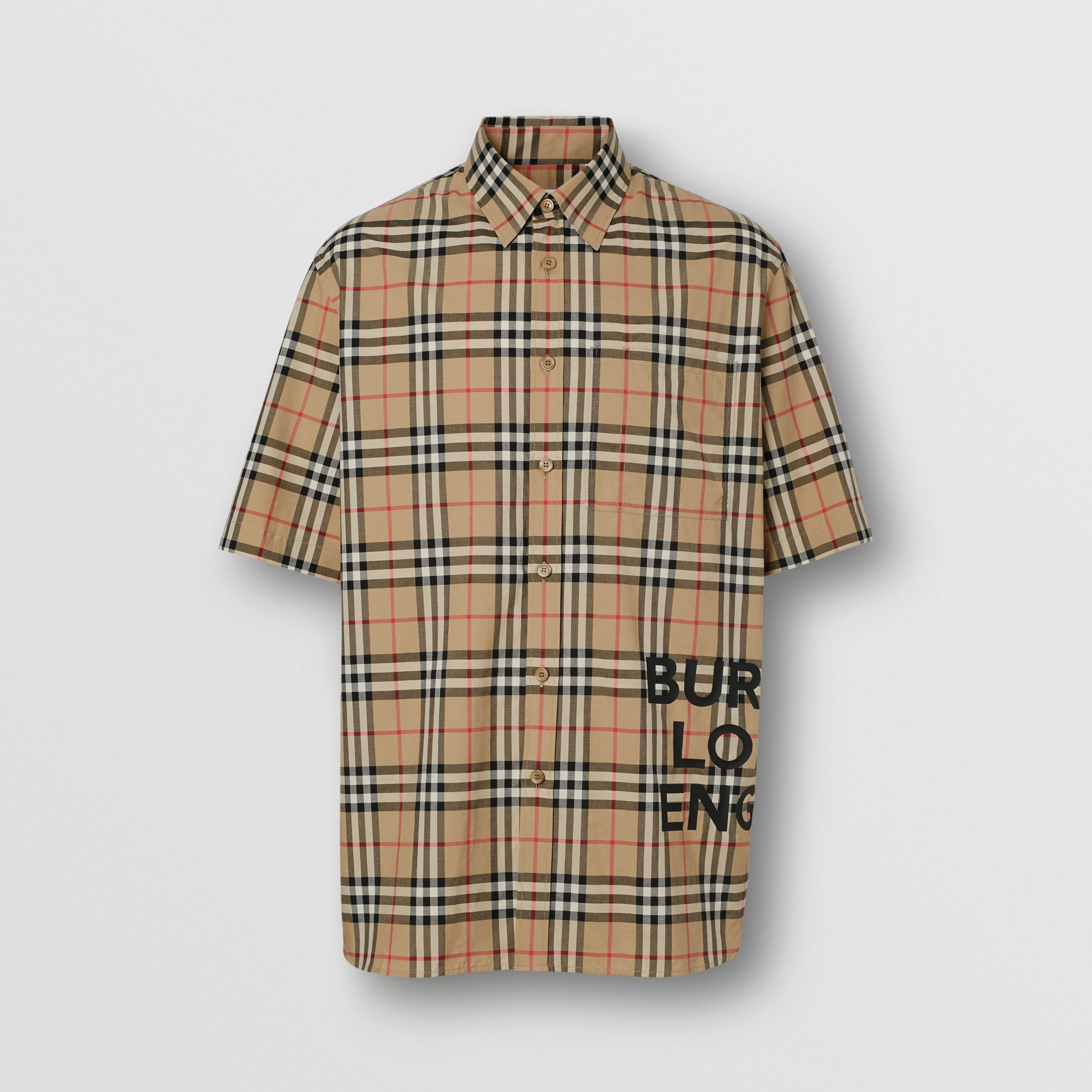 Short-sleeve Vintage Check Cotton Oversized Shirt in Archive Beige - Women | Burberry - 4