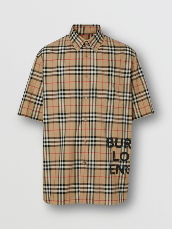 Short-sleeve Vintage Check Cotton Oversized Shirt in Archive Beige