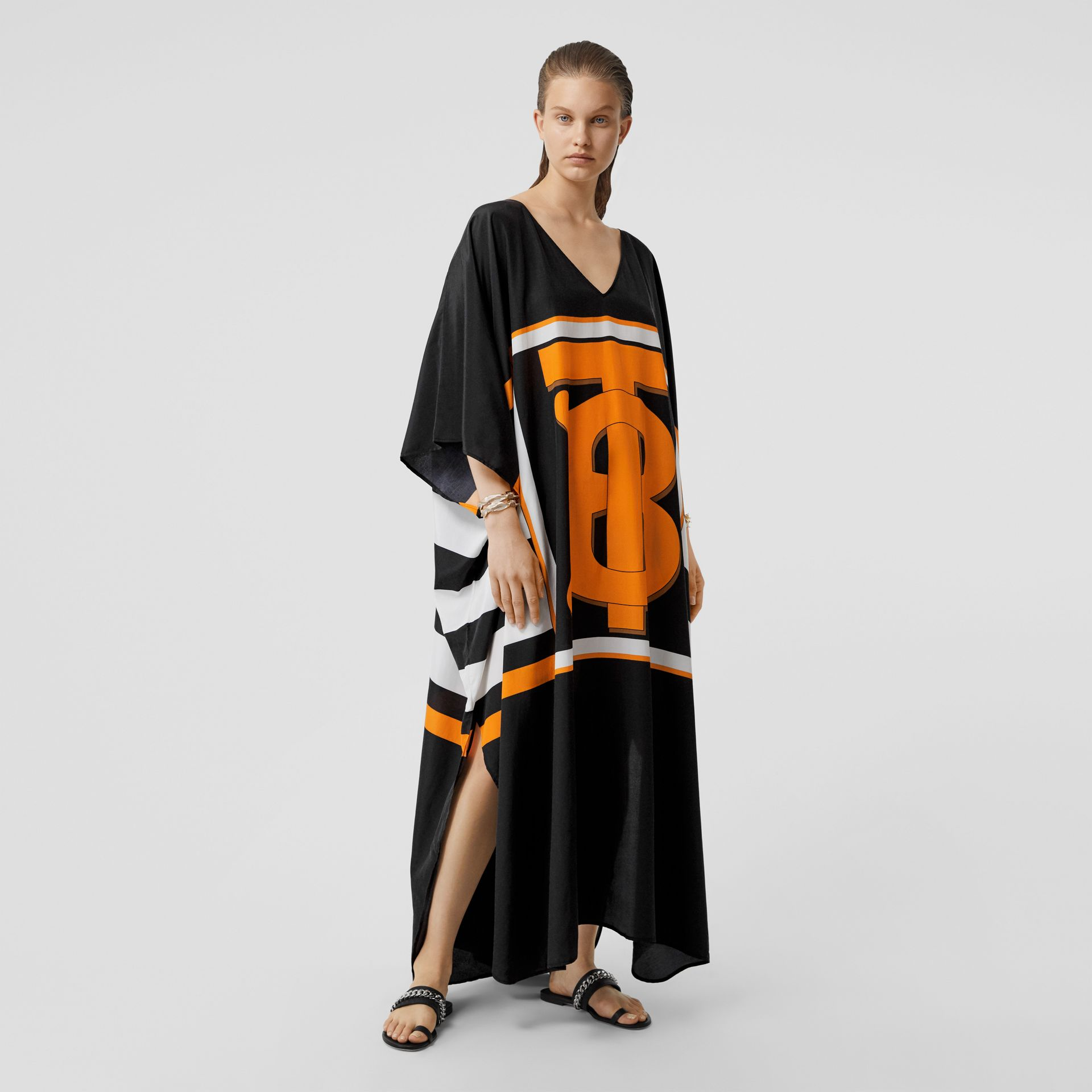 Monogram Motif Print Silk Cotton Kaftan in Black | Burberry - gallery image 0