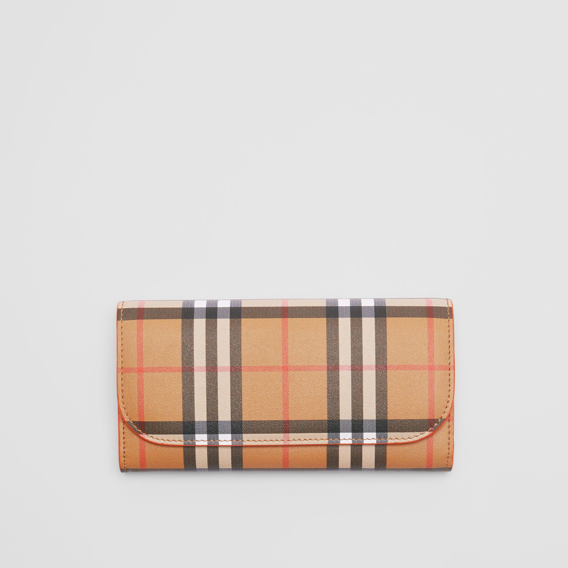 Vintage Check and Leather Continental Wallet in Clementine - Women | Burberry Australia - gallery image 0
