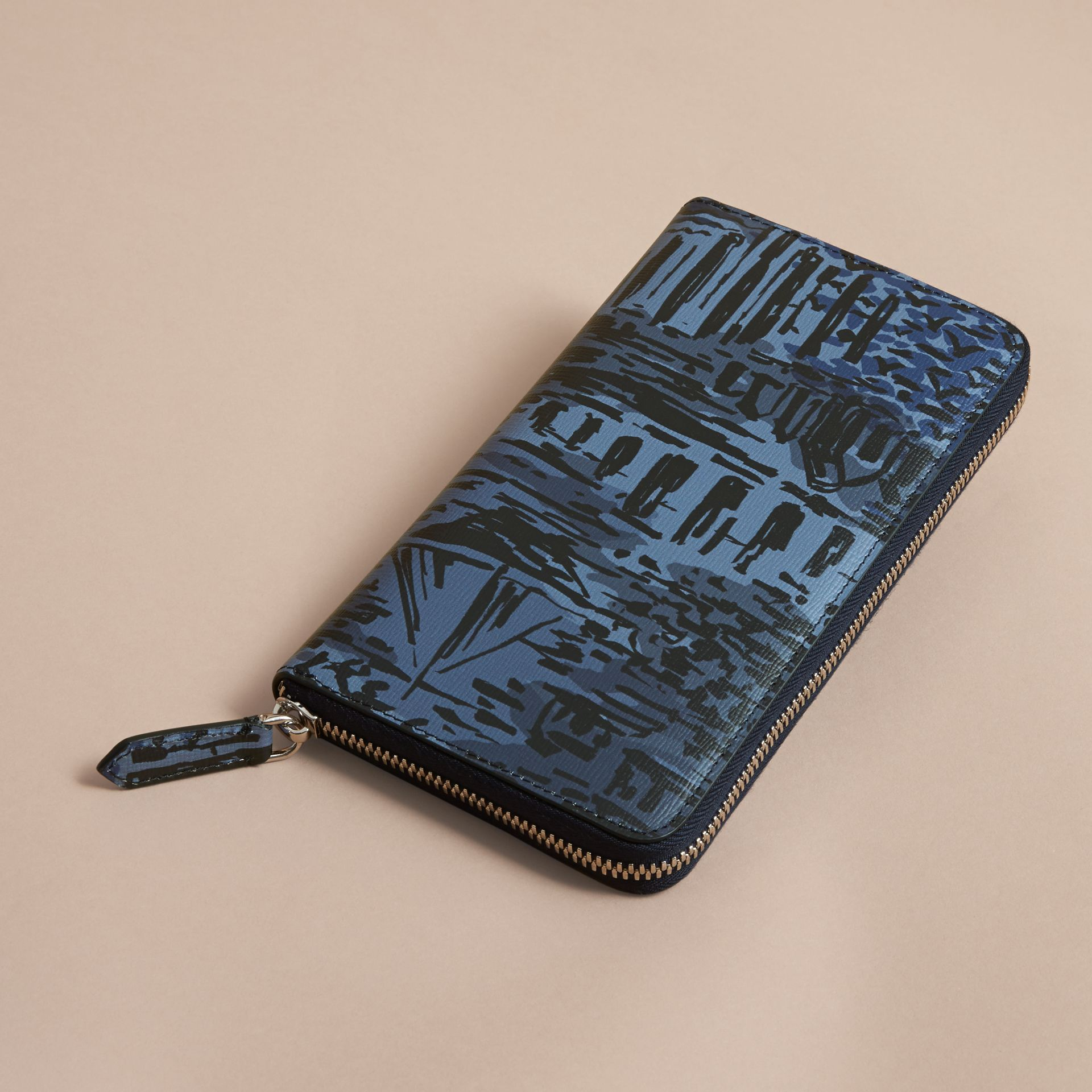 British Seaside Print London Leather Ziparound Wallet in Bright Navy - gallery image 5