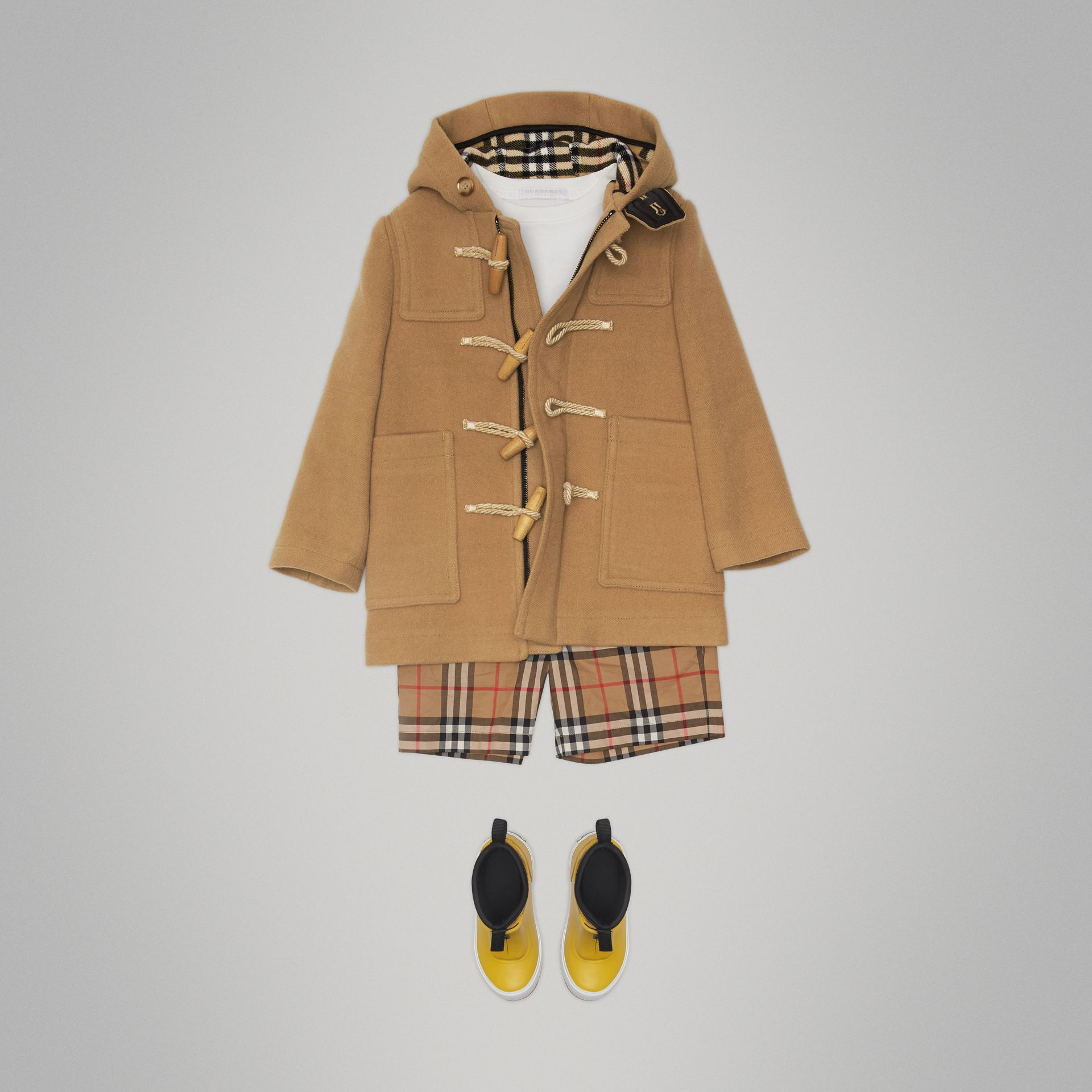 Double-faced Wool Duffle Coat in Antique Yellow - Boy | Burberry Singapore - gallery image 2